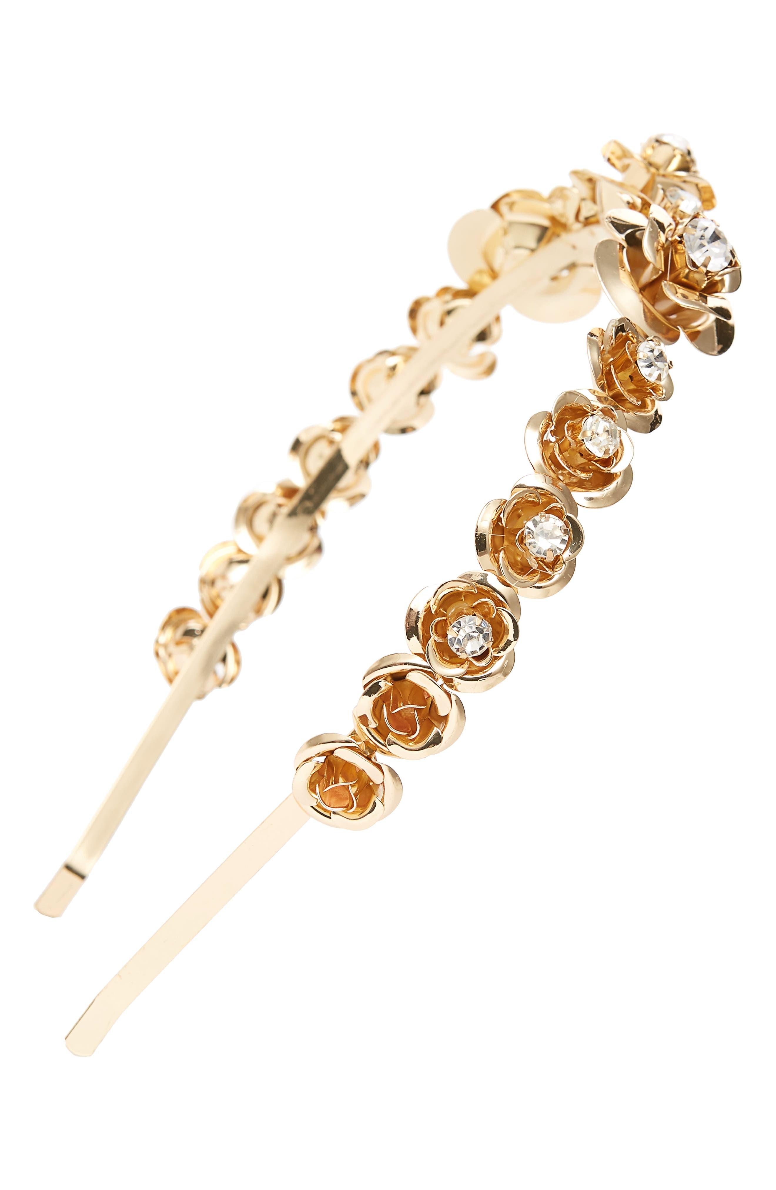 Crystal Embellished Flower Headband,                         Main,                         color, GOLD