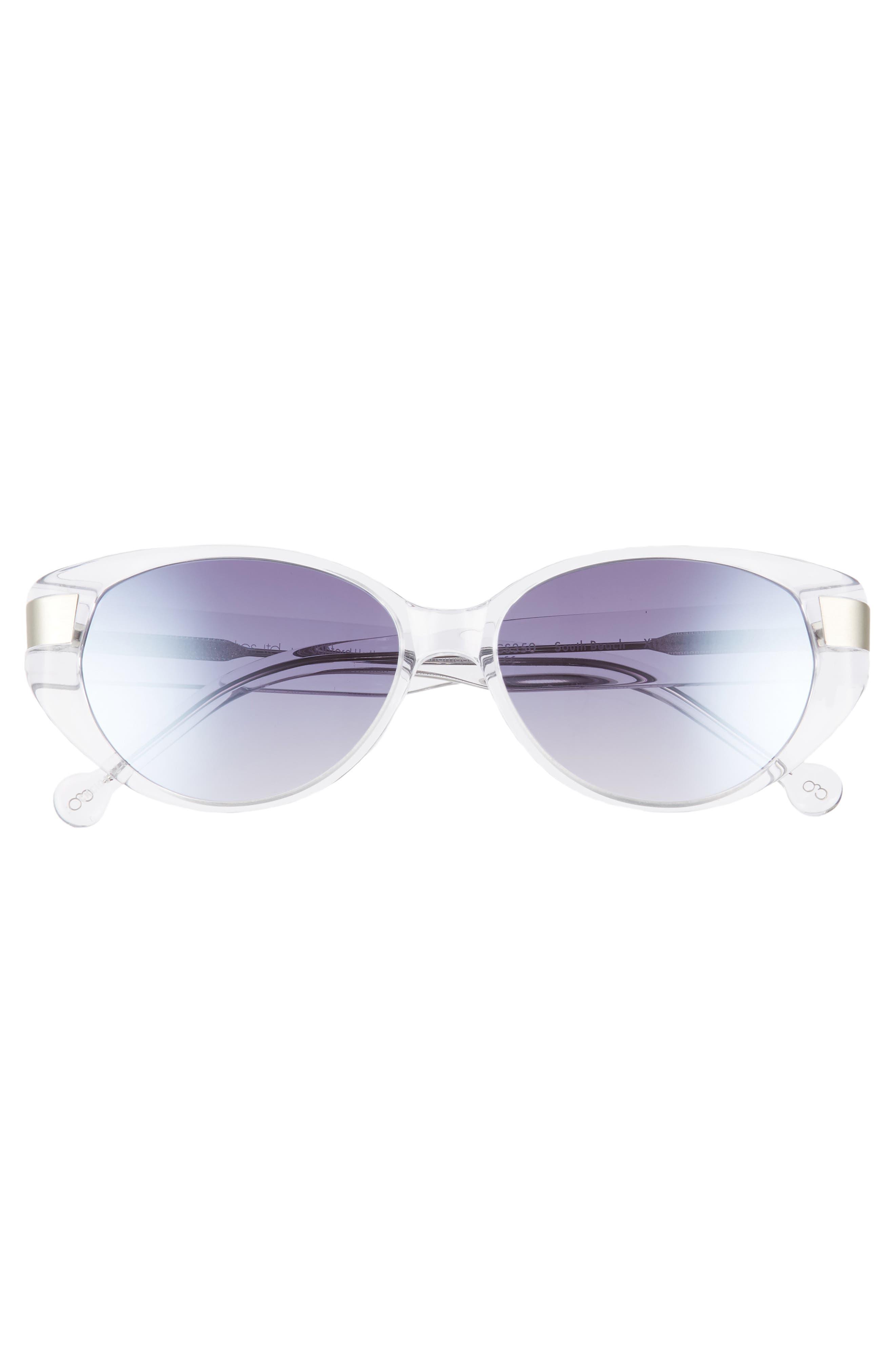 Southbeach 54mm Gradient Cat Eye Sunglasses,                             Alternate thumbnail 3, color,                             CRYSTAL