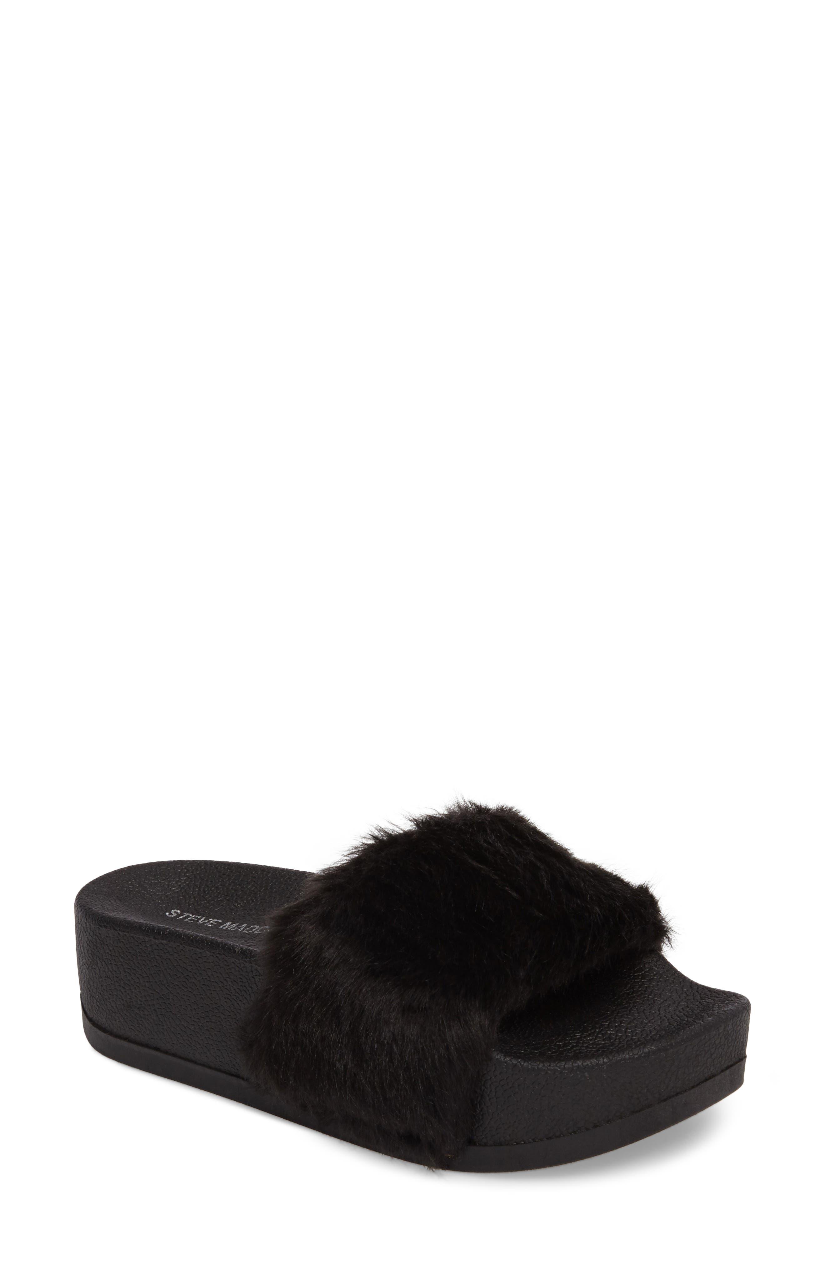 Softey Faux Fur Platform Slide,                             Main thumbnail 1, color,                             001