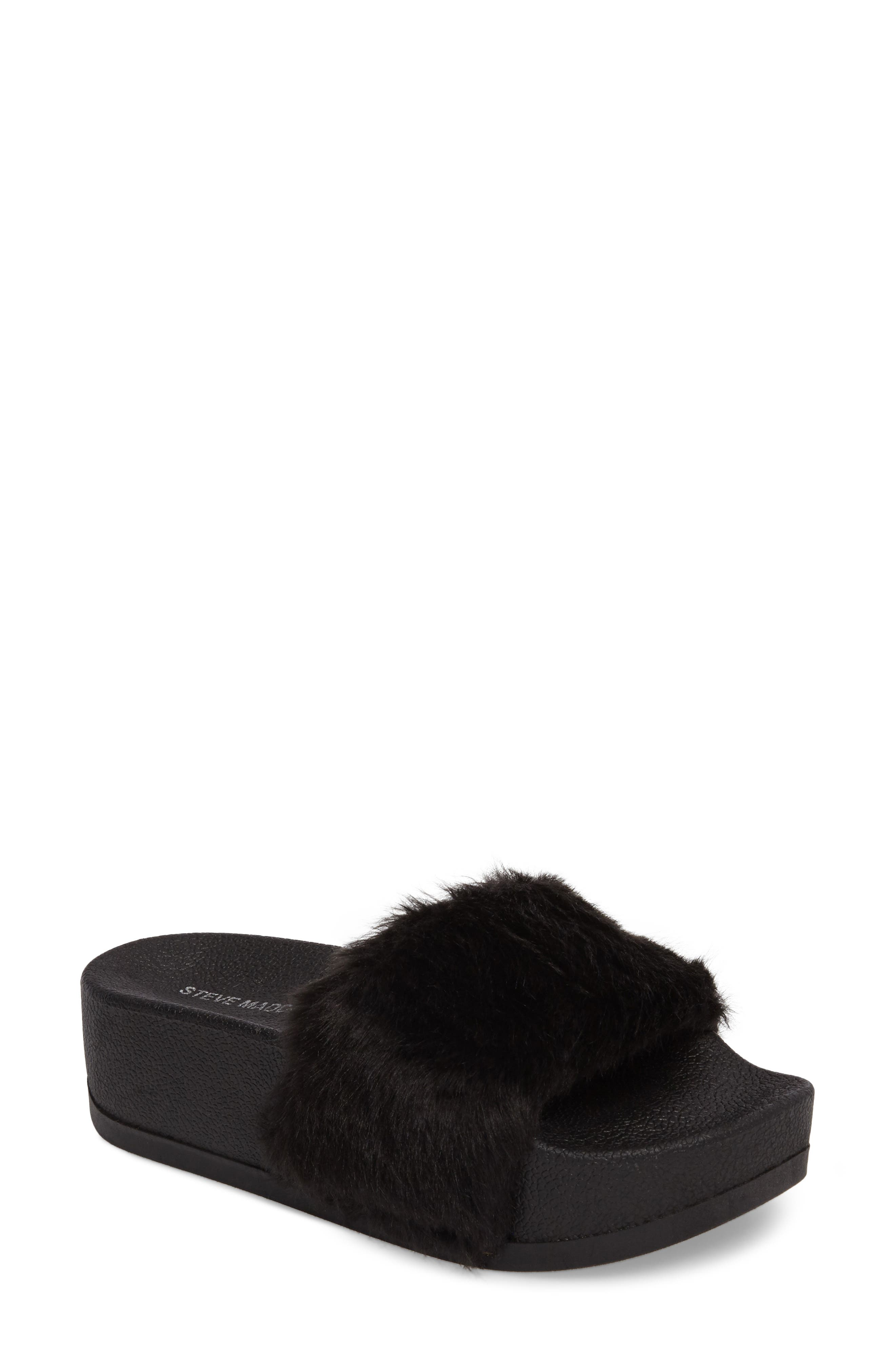 STEVE MADDEN Softey Faux Fur Platform Slide, Main, color, 001