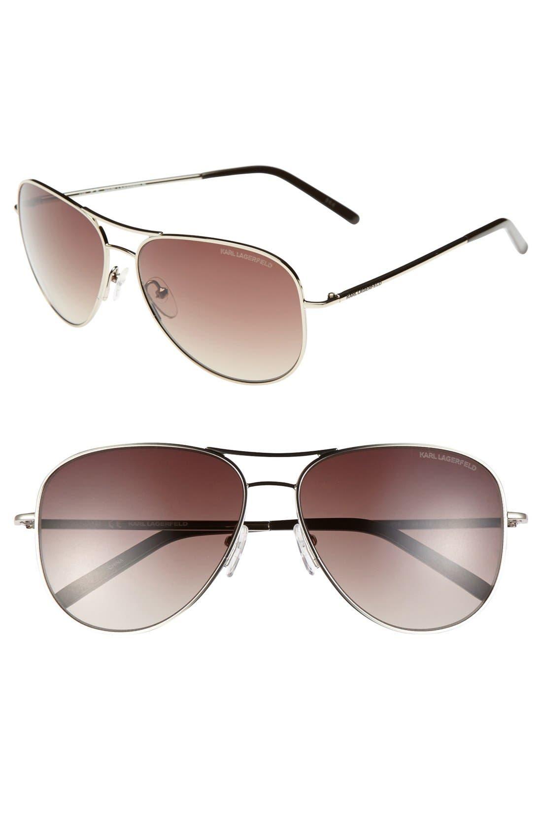 Karl Lagerfeld 58mm Metal Aviator Sunglasses, Main, color, 040