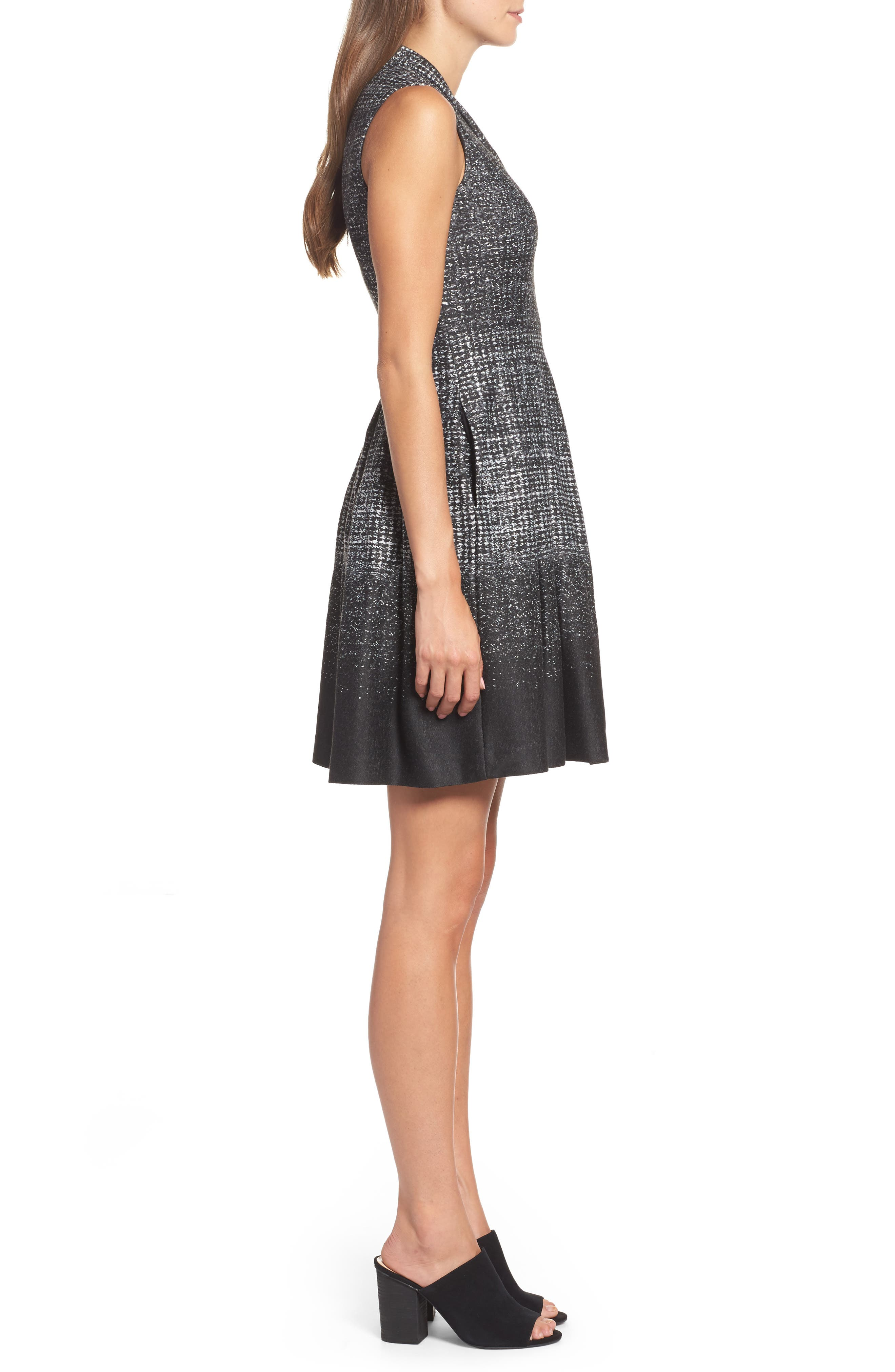 Sleeveless Fit & Flare Dress,                             Alternate thumbnail 3, color,