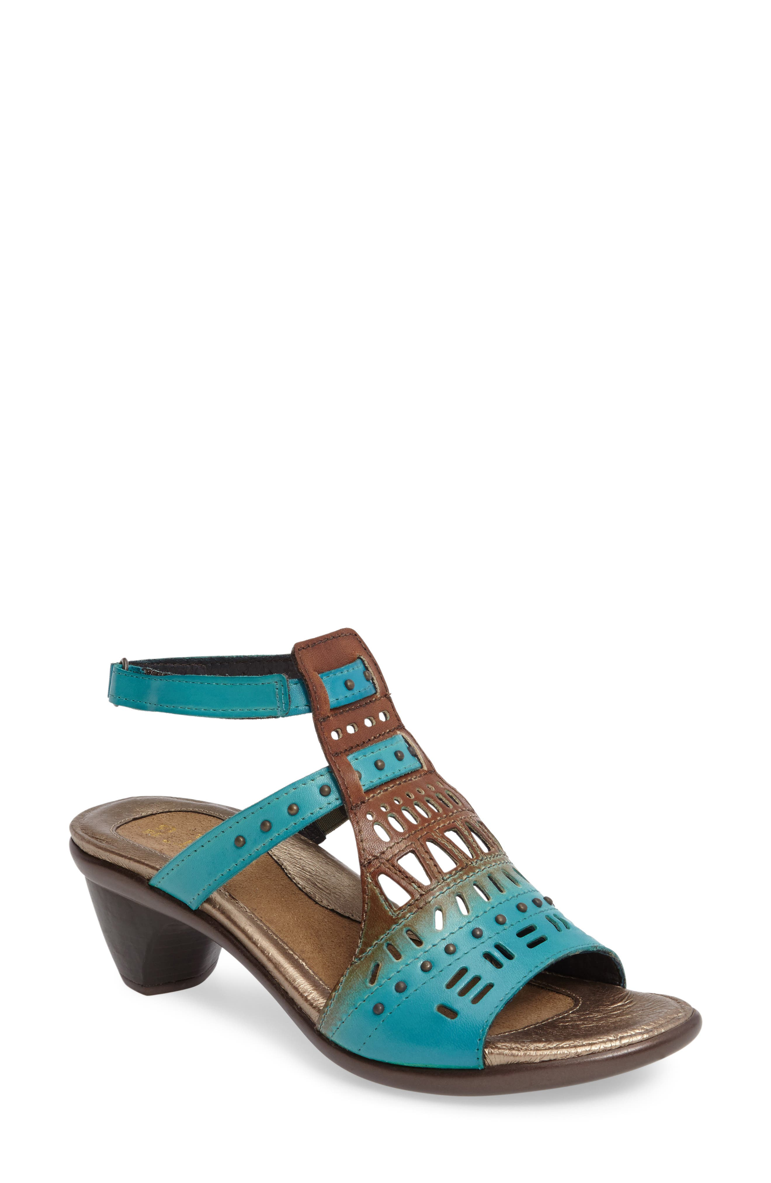 'Vogue' Sandal,                             Main thumbnail 1, color,                             TEAL BROWN LEATHER