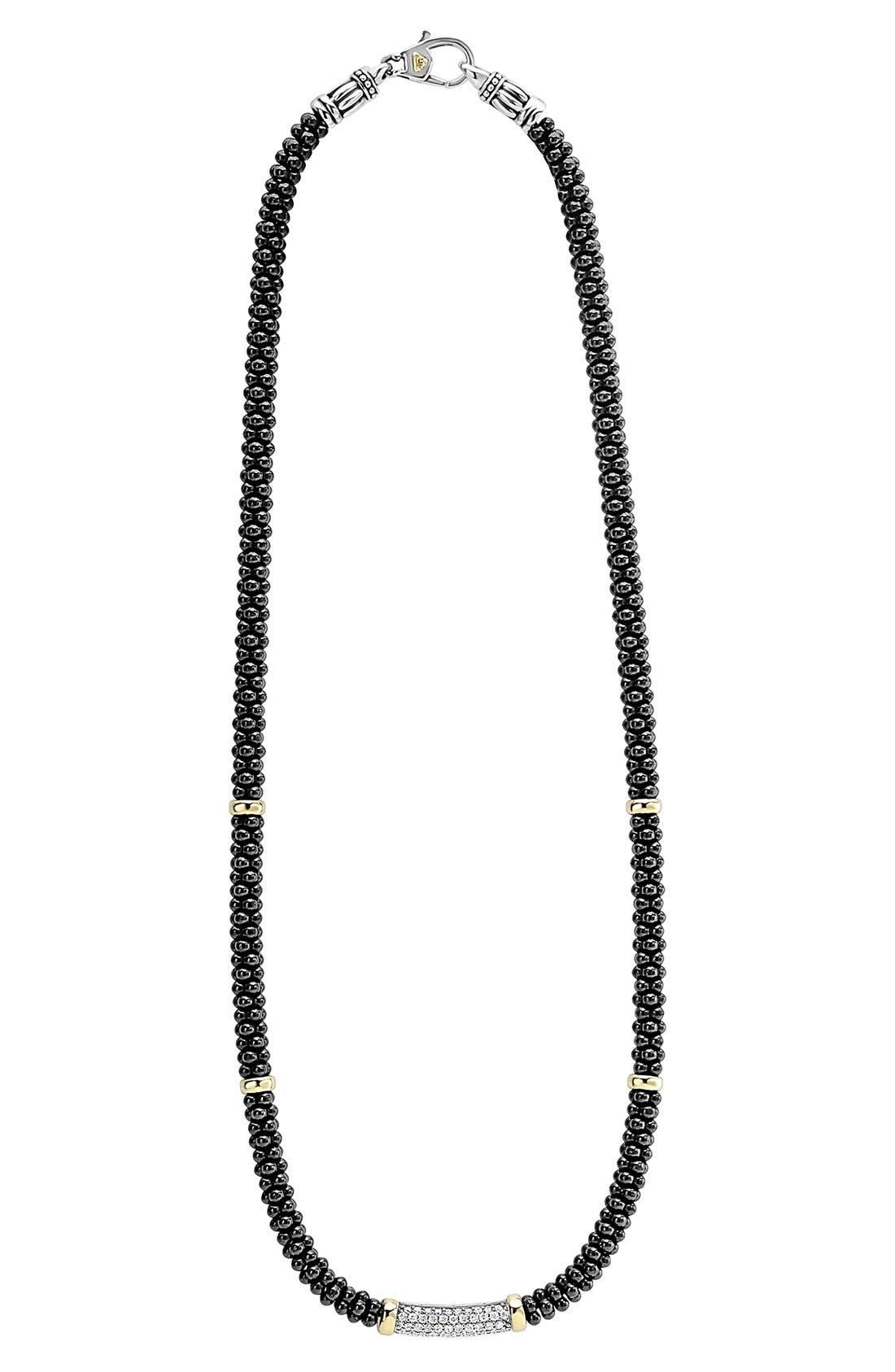 'Black Caviar' 5mm Beaded DiamondBar Necklace,                             Alternate thumbnail 3, color,                             BLACK CAVIAR/ GOLD