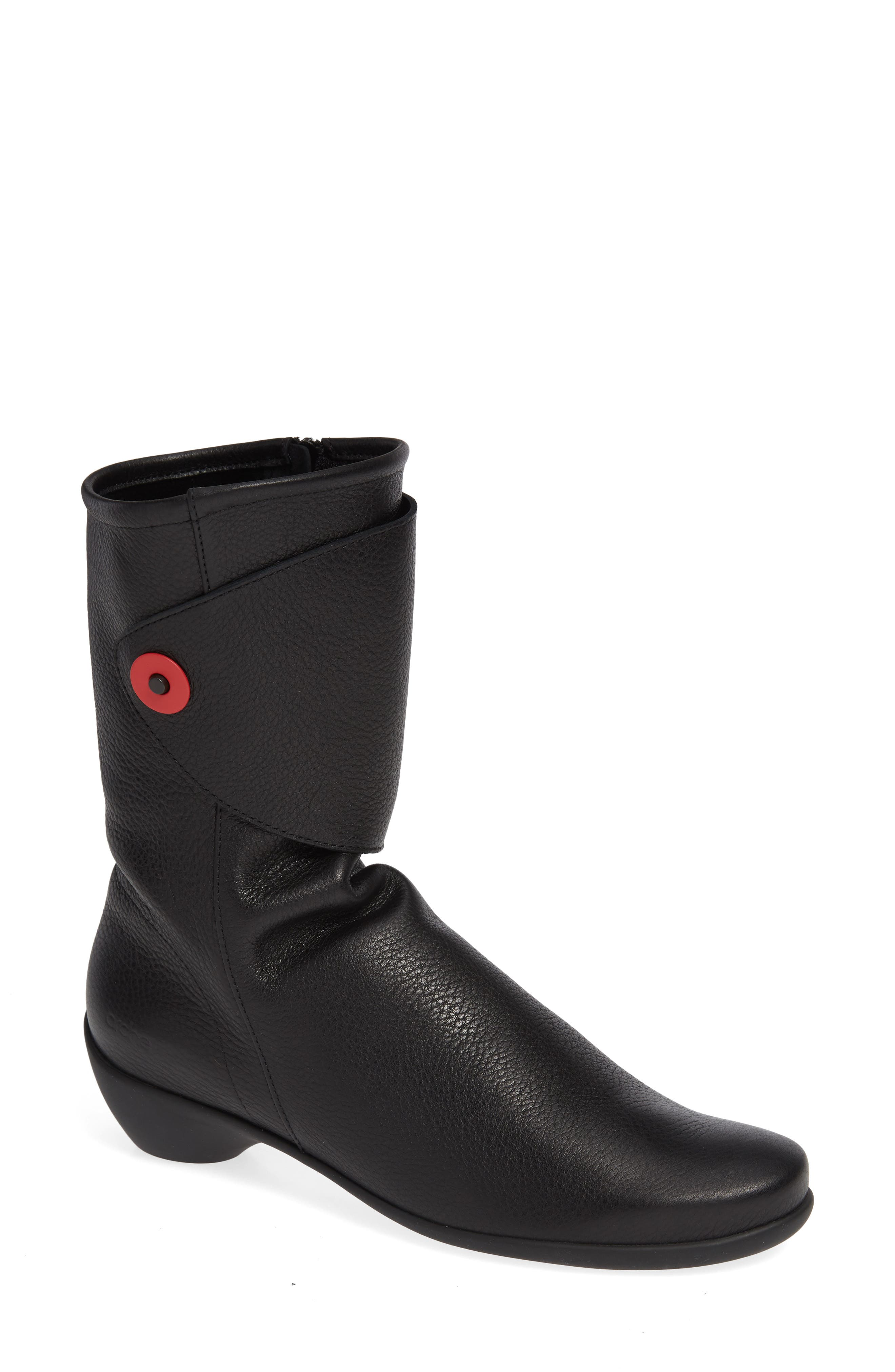 ARCHE Tessmy Water Resistant Boot in Noir/ Rouge Leather