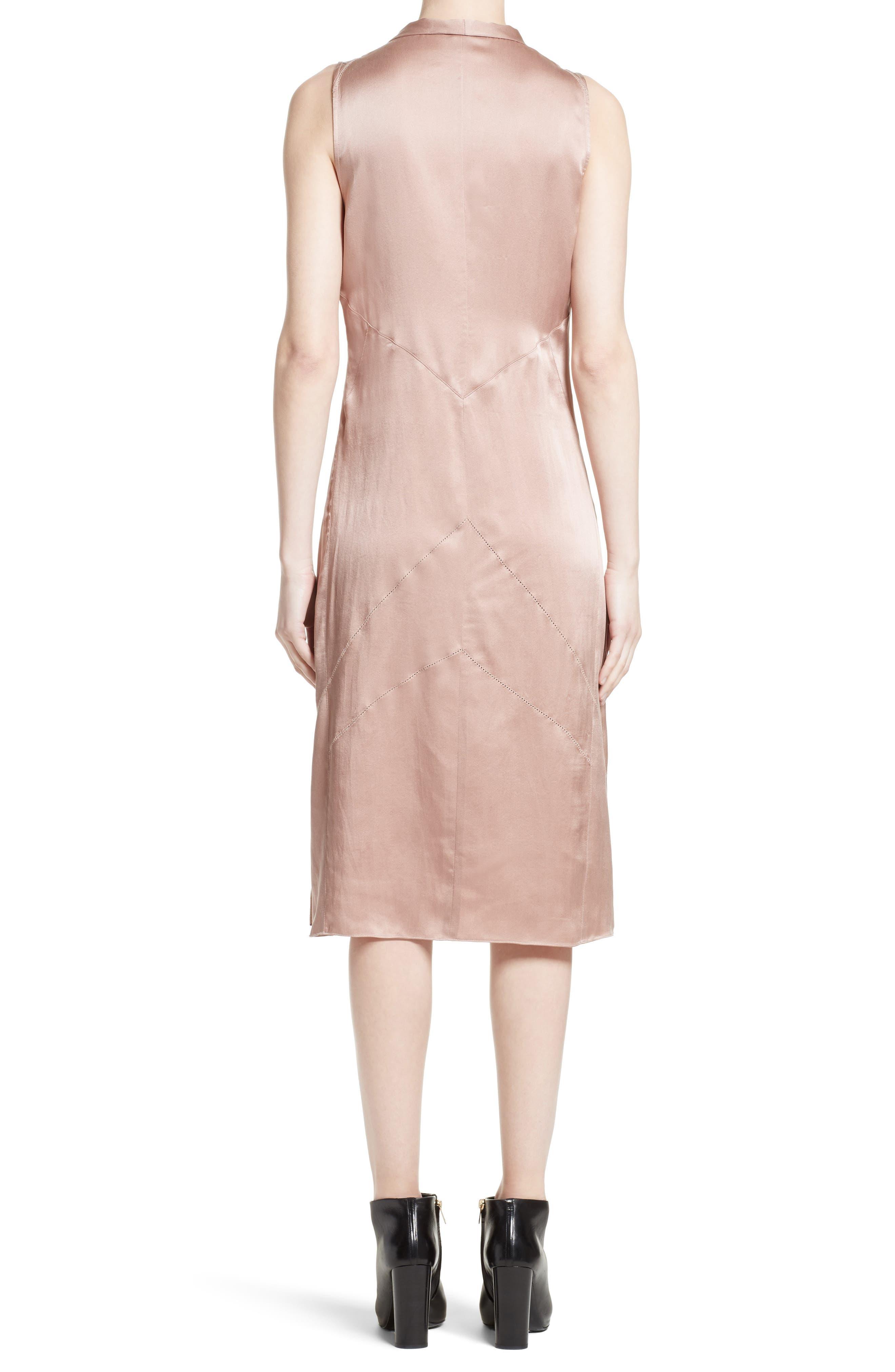 Cathy Tie Neck Silk Dress,                             Alternate thumbnail 2, color,