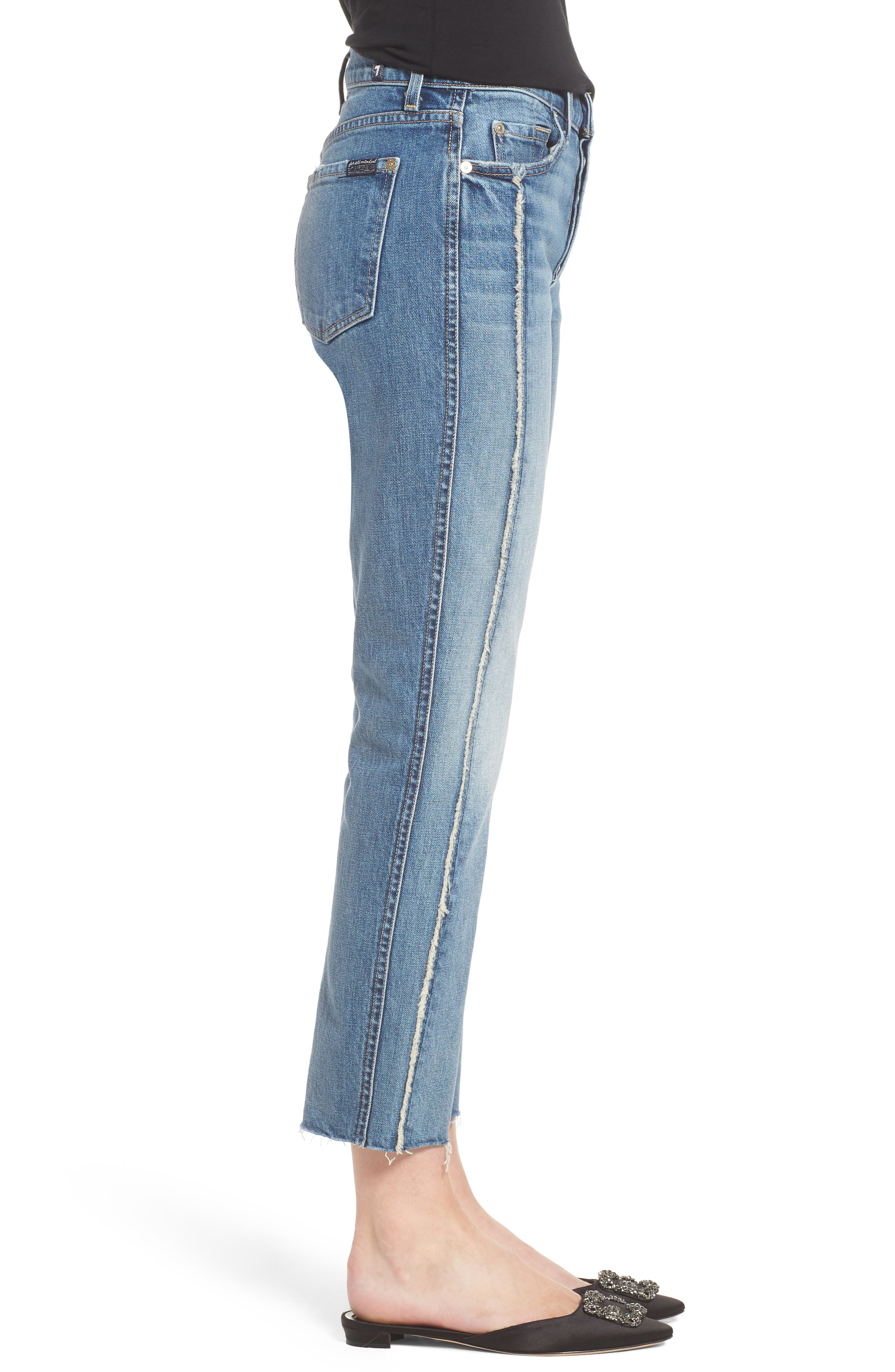 Edie Fray Seams Crop Straight Leg Jeans,                             Alternate thumbnail 3, color,                             400