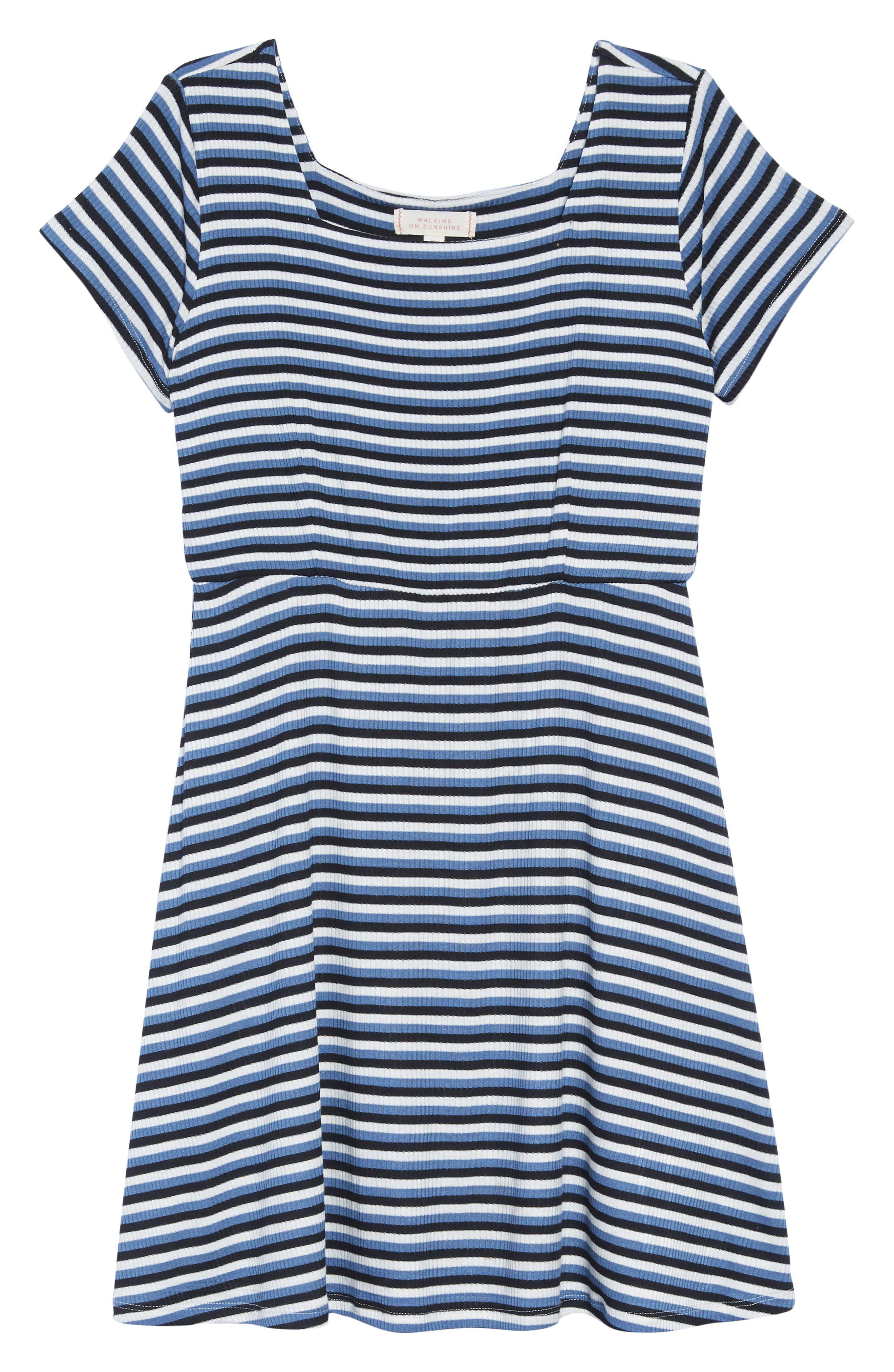 Square Neck A-Line Dress,                         Main,                         color, NAVY