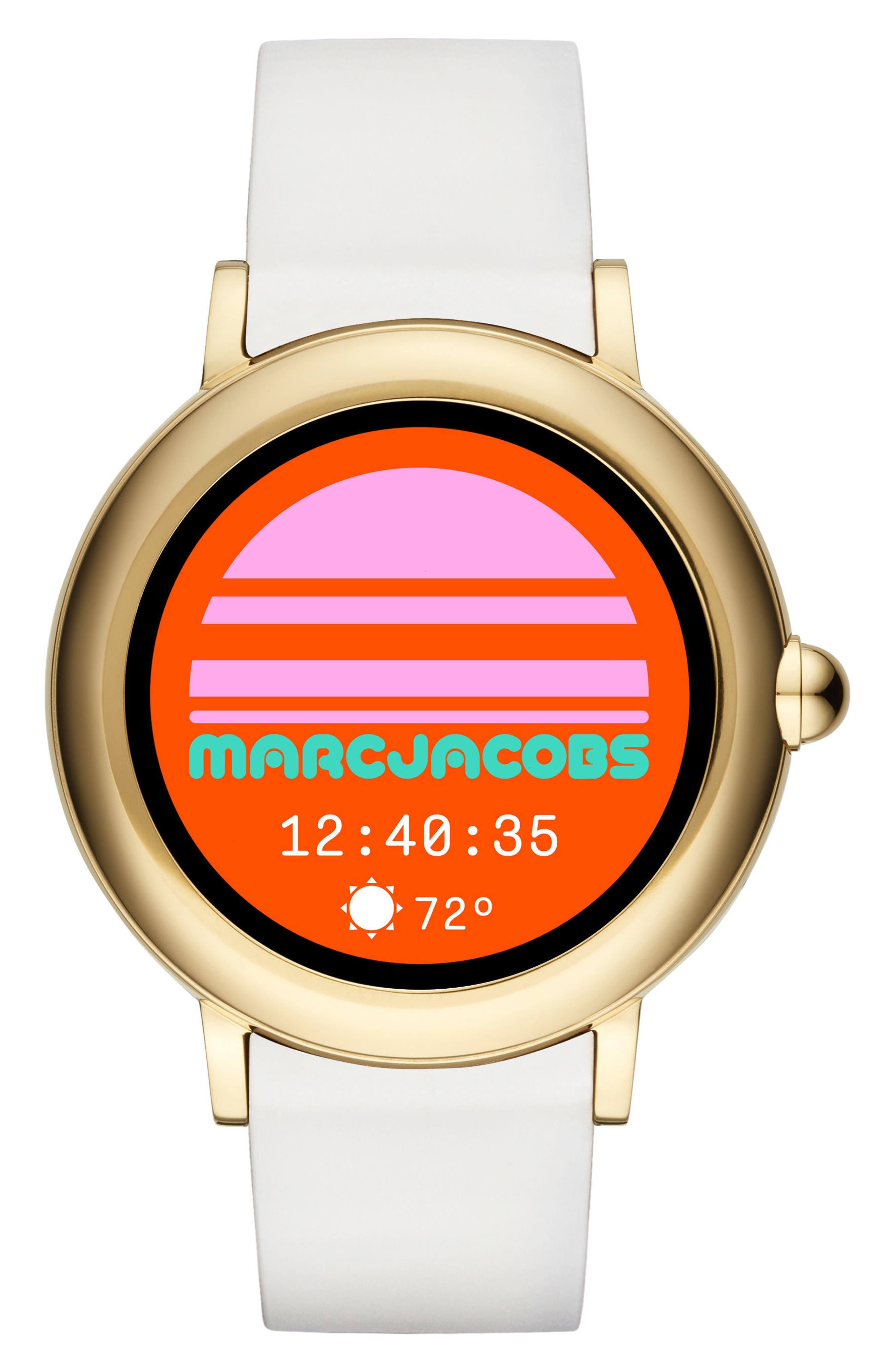 Riley Silcone Strap Smart Watch, 44mm,                         Main,                         color, WHITE/ GOLD