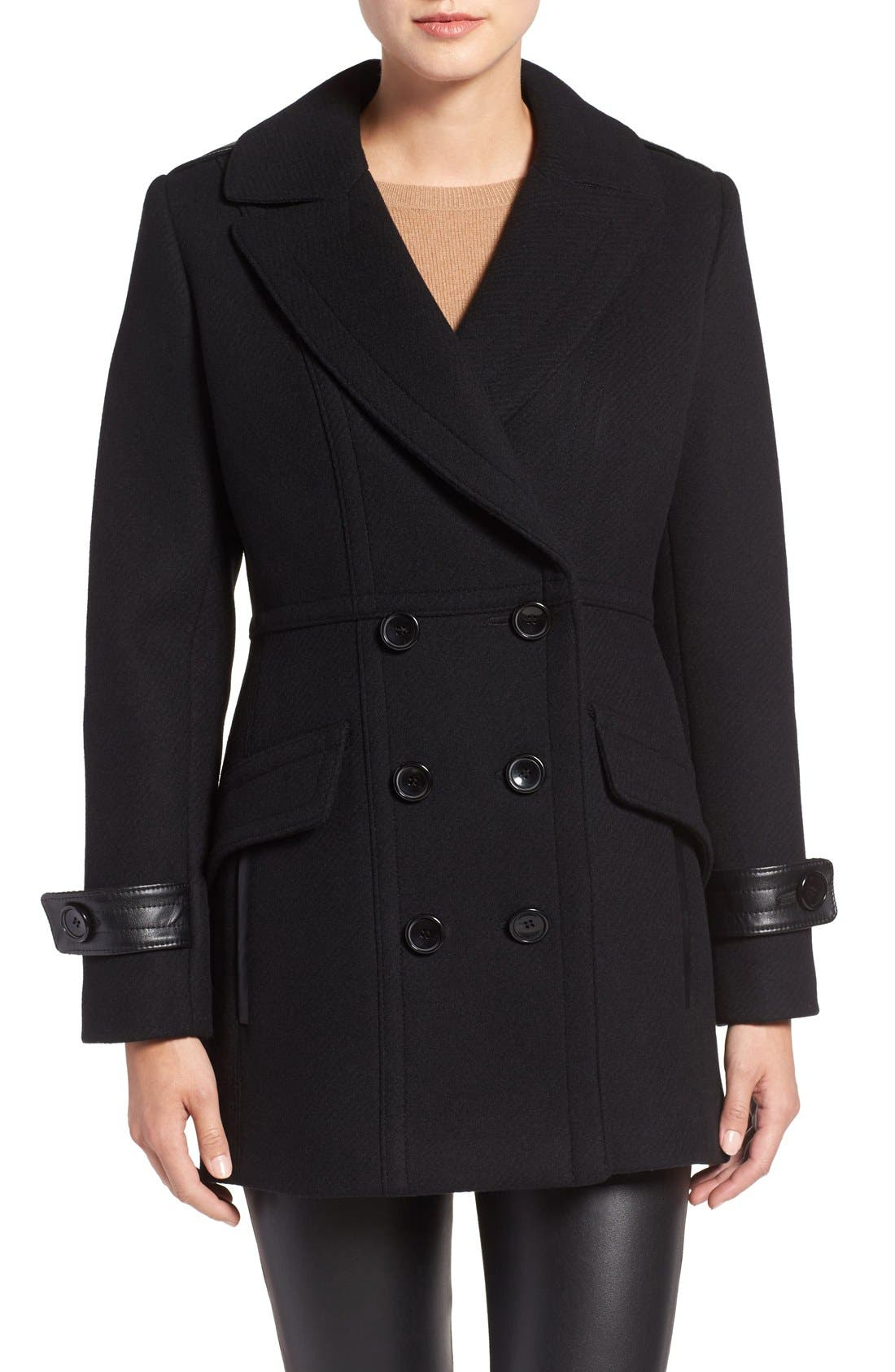 'Chloe' Wool Blend Peacoat,                         Main,                         color, 001