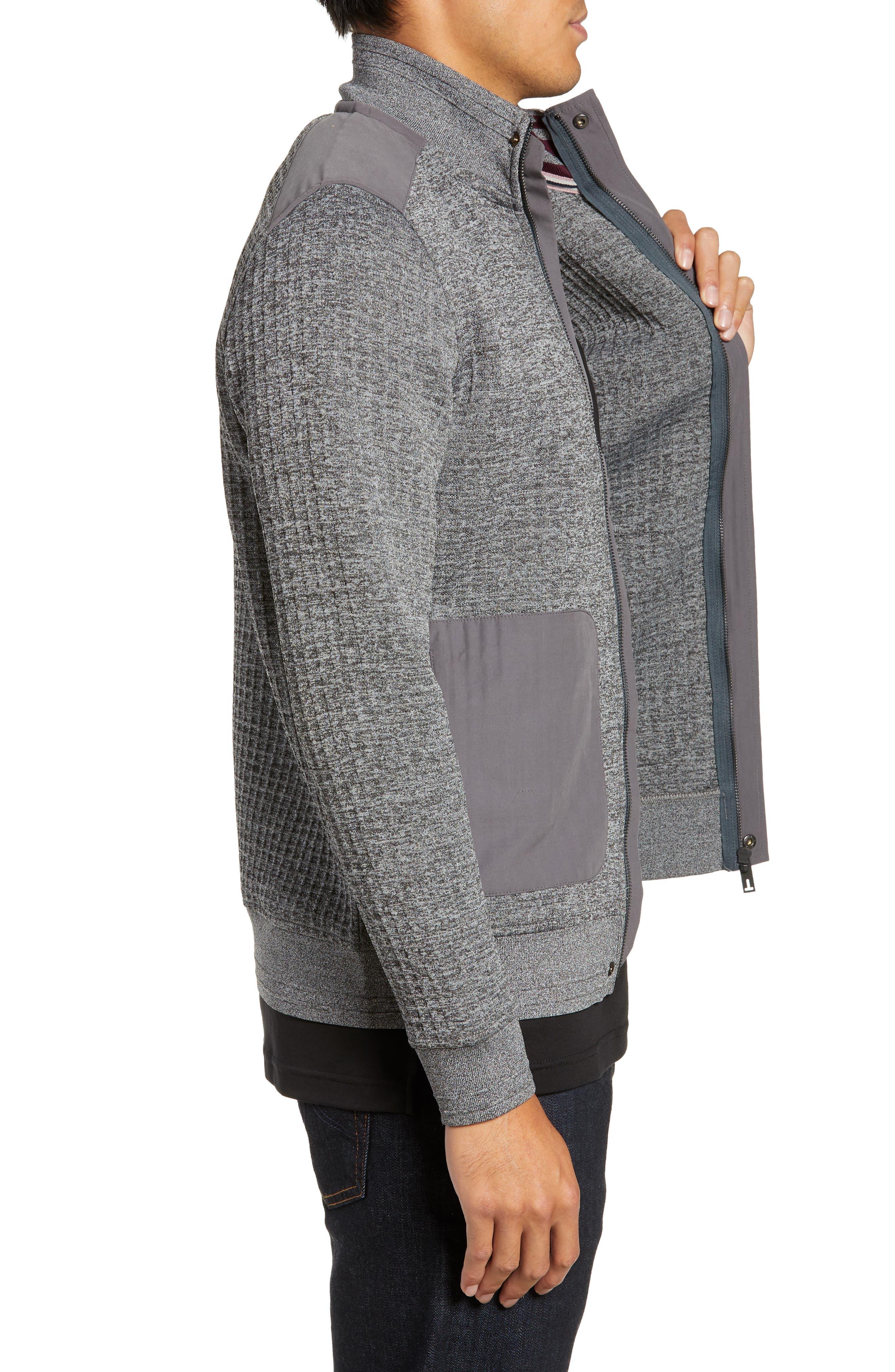 Slim Fit Funnel Neck Sweatshirt,                             Alternate thumbnail 3, color,                             GREY