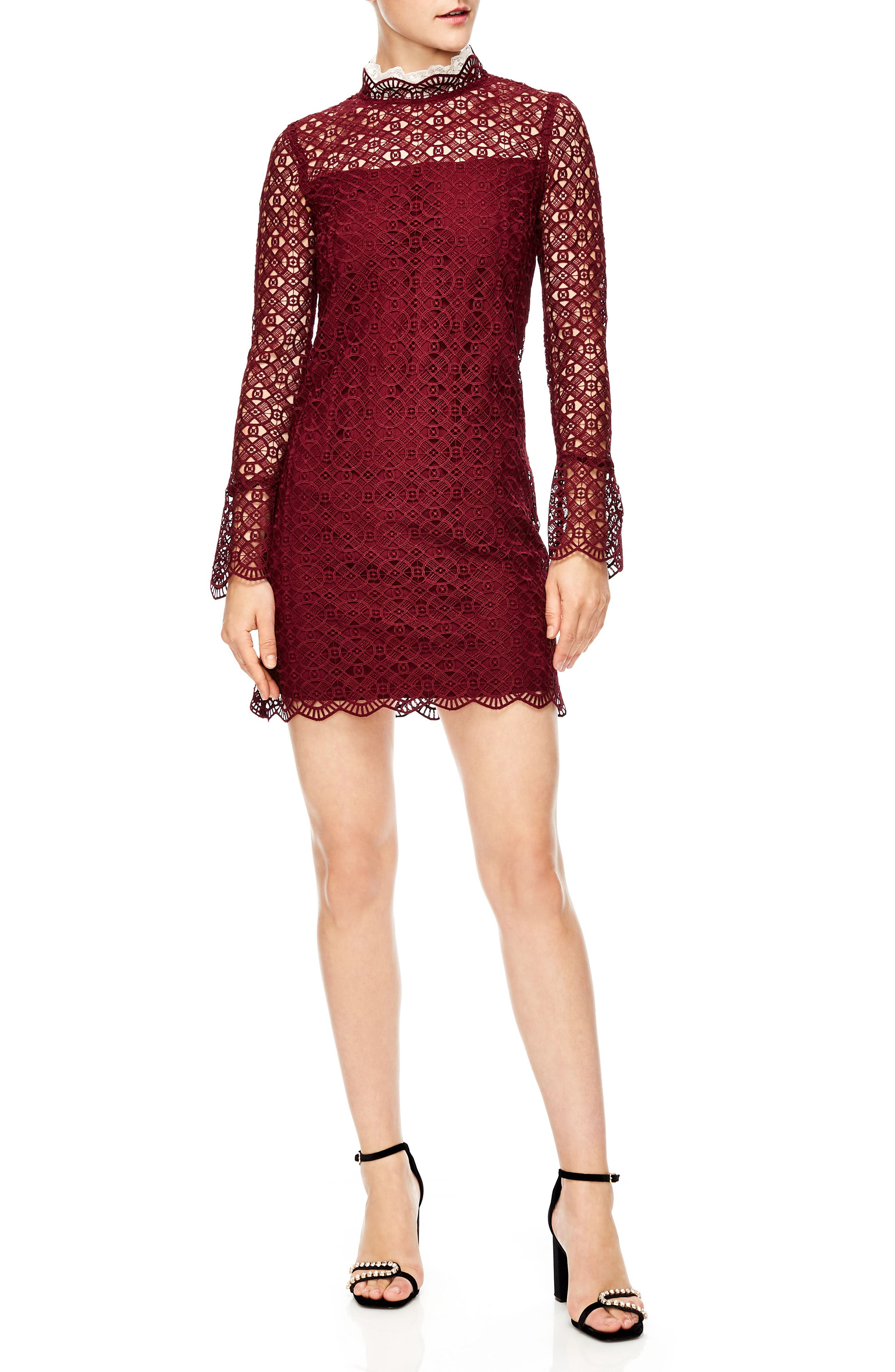 Lace Shift Dress,                         Main,                         color, BURGUNDY