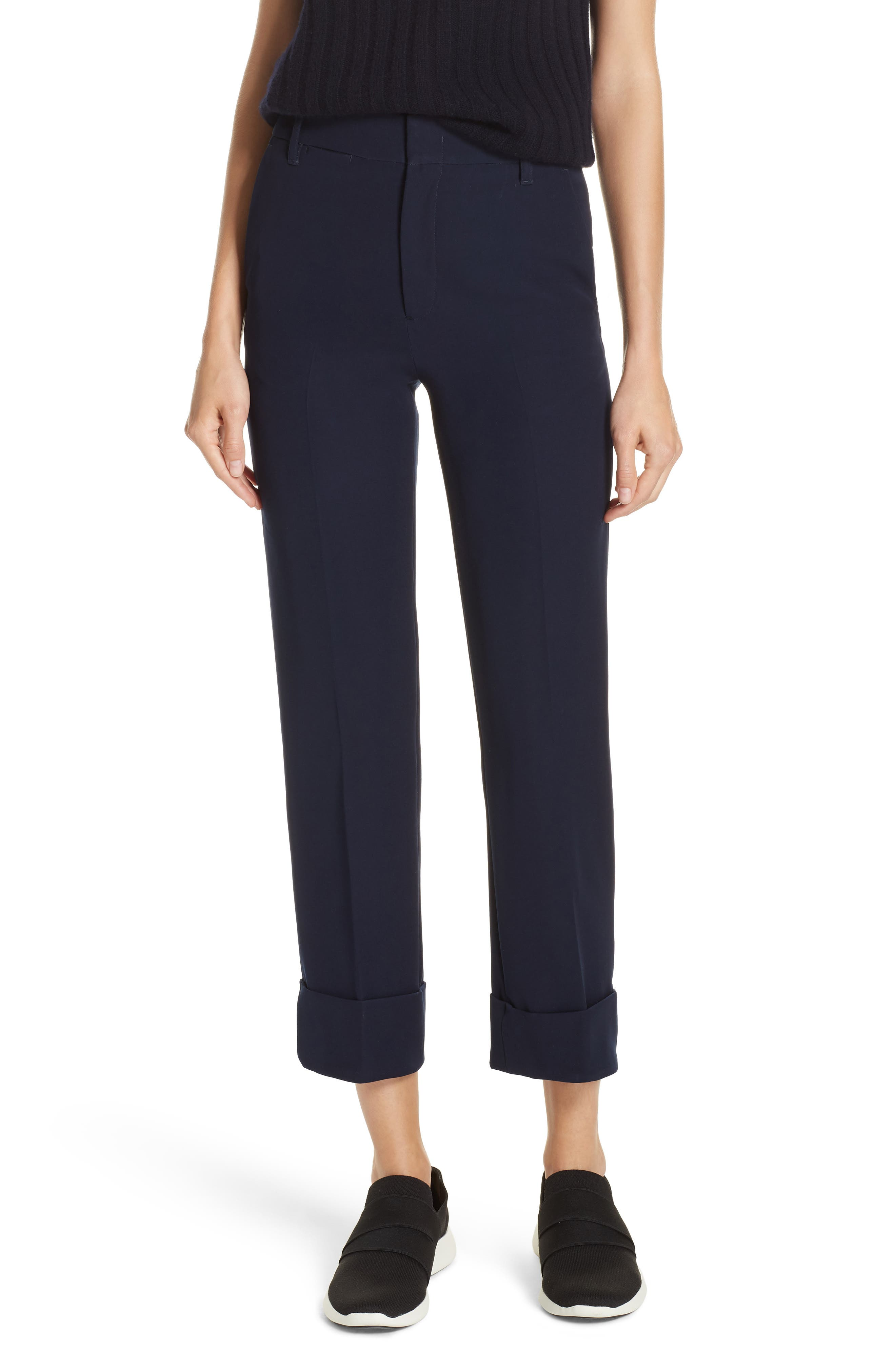 Cuffed Ankle Trousers,                             Main thumbnail 1, color,                             NAVY