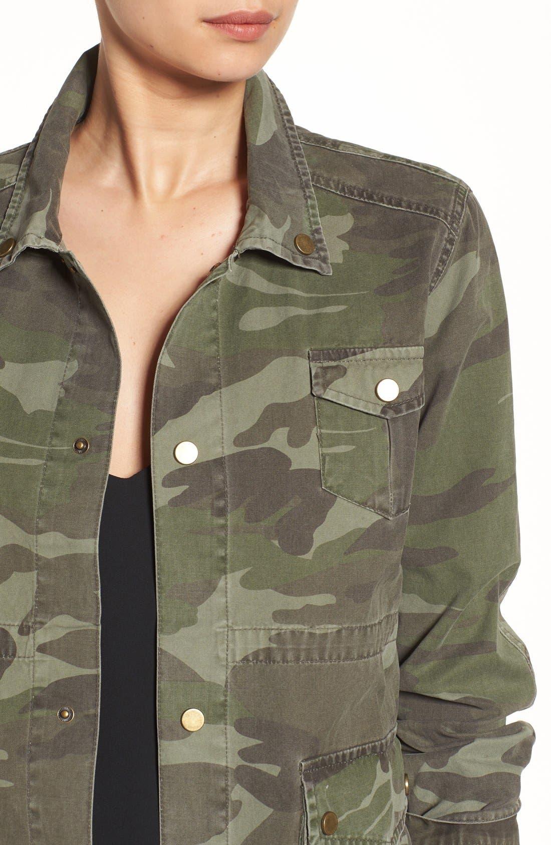 'Alexa' Camo Cotton Military Jacket,                             Alternate thumbnail 4, color,                             300