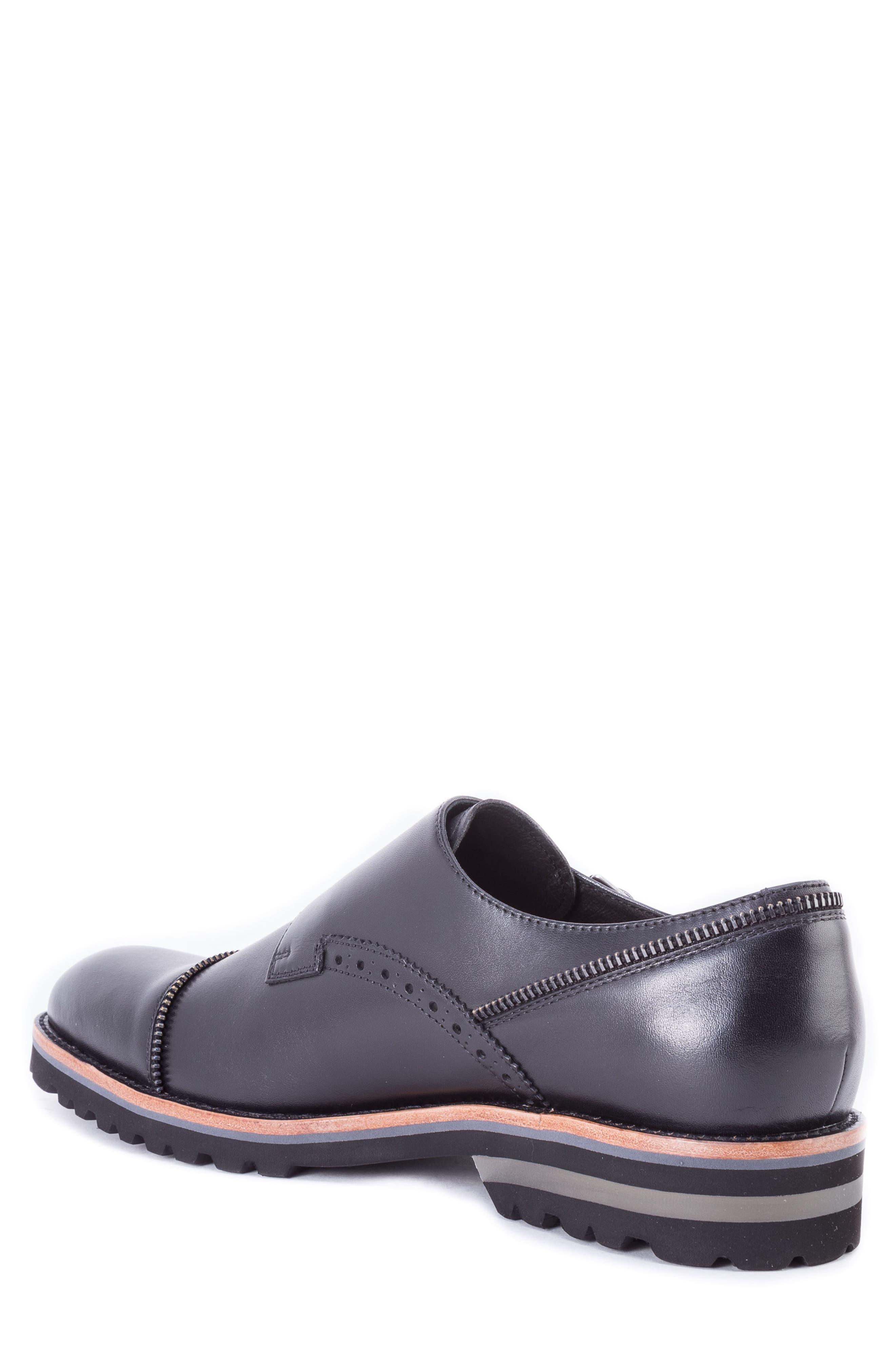 Acadia Double Buckle Monk Shoe,                             Alternate thumbnail 2, color,                             BLACK LEATHER