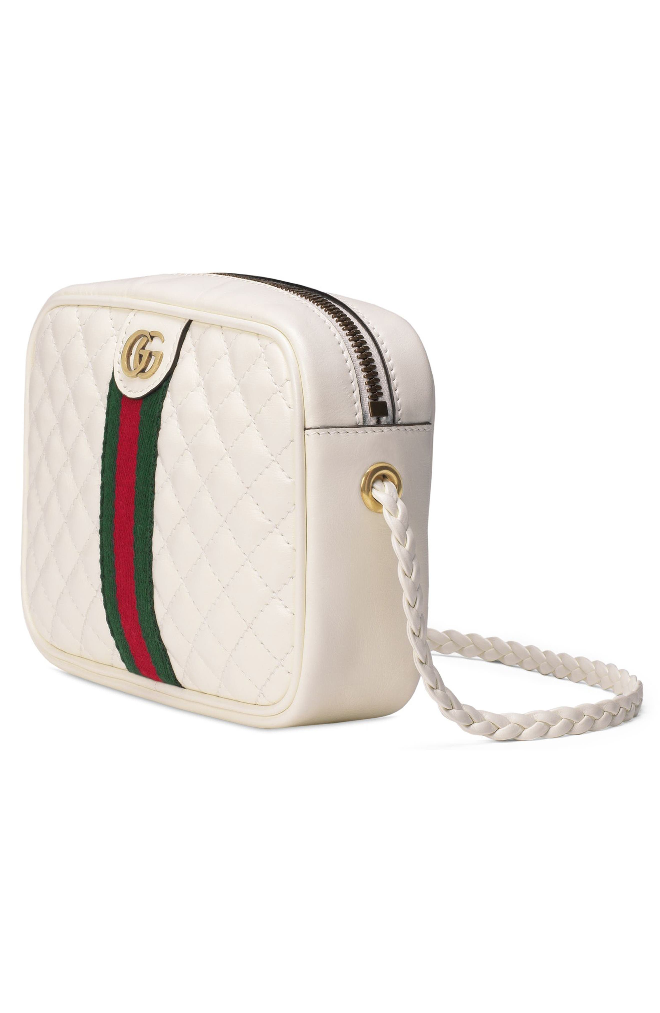 Small Quilted Leather Camera Bag,                             Alternate thumbnail 4, color,                             OFF WHITE/ VERT/ RED