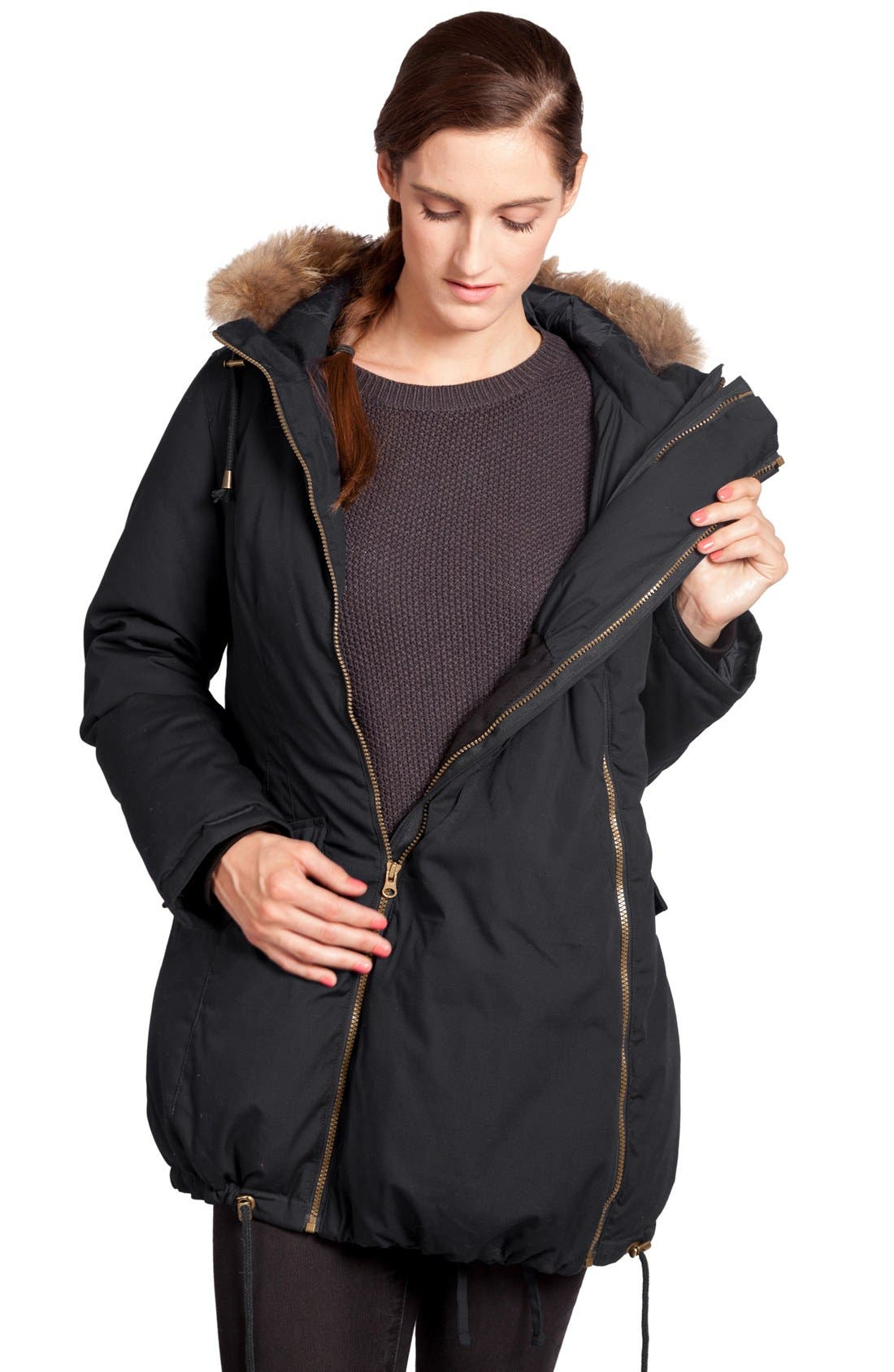 Convertible Down 3-in-1 Maternity Jacket,                             Alternate thumbnail 12, color,                             BLACK