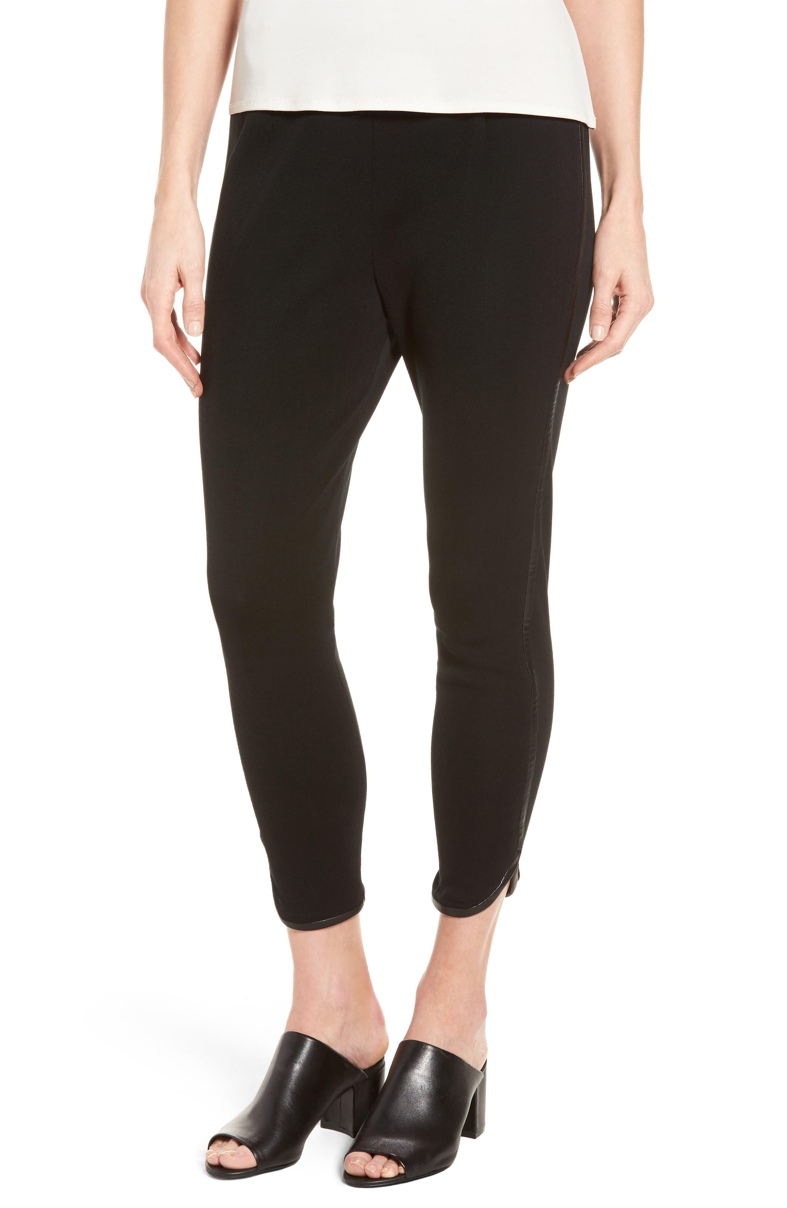 Faux Leather Trim Leggings,                         Main,                         color, BLACK