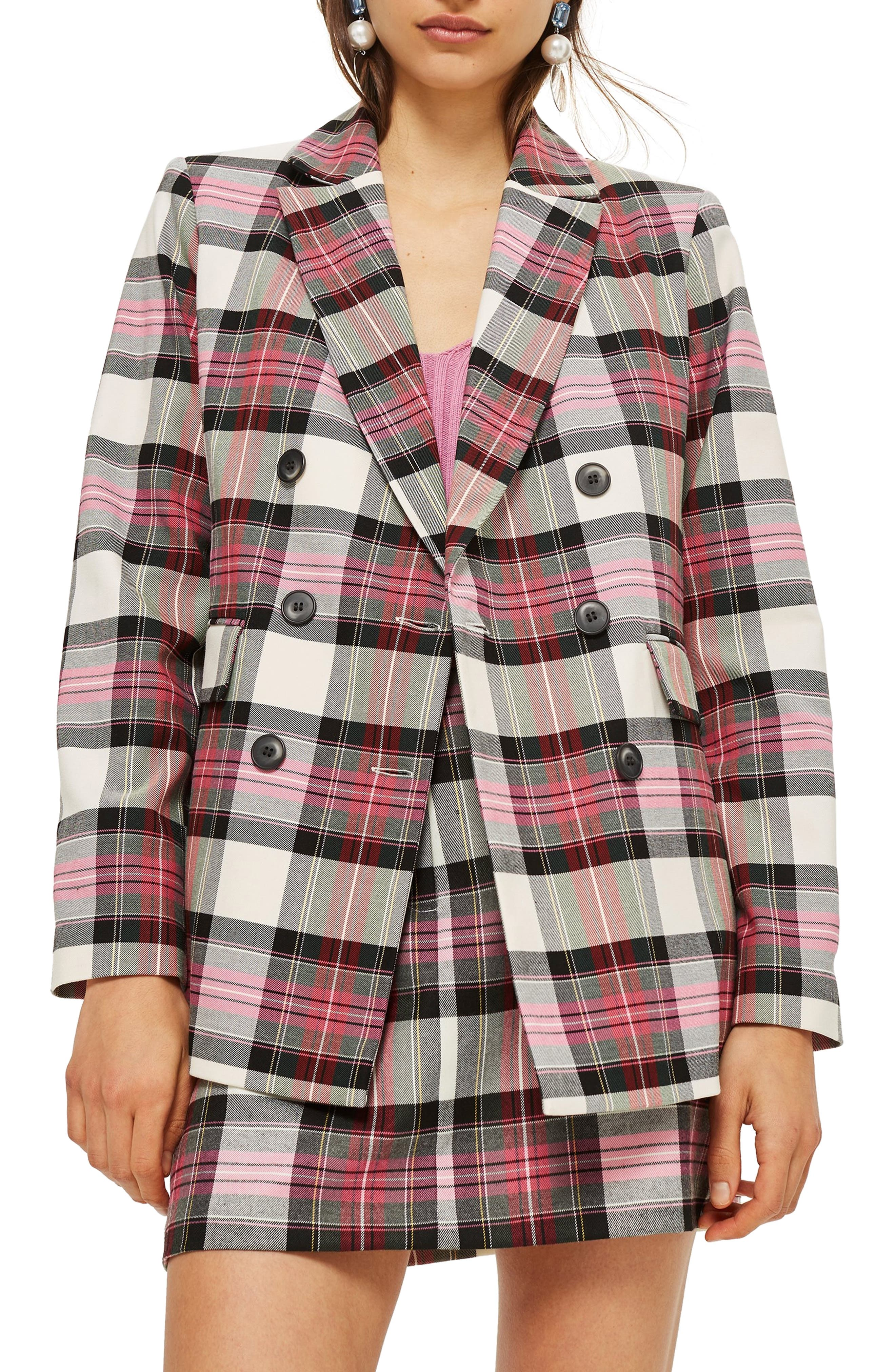 Tartan Double Breasted Jacket,                         Main,                         color, PINK MULTI