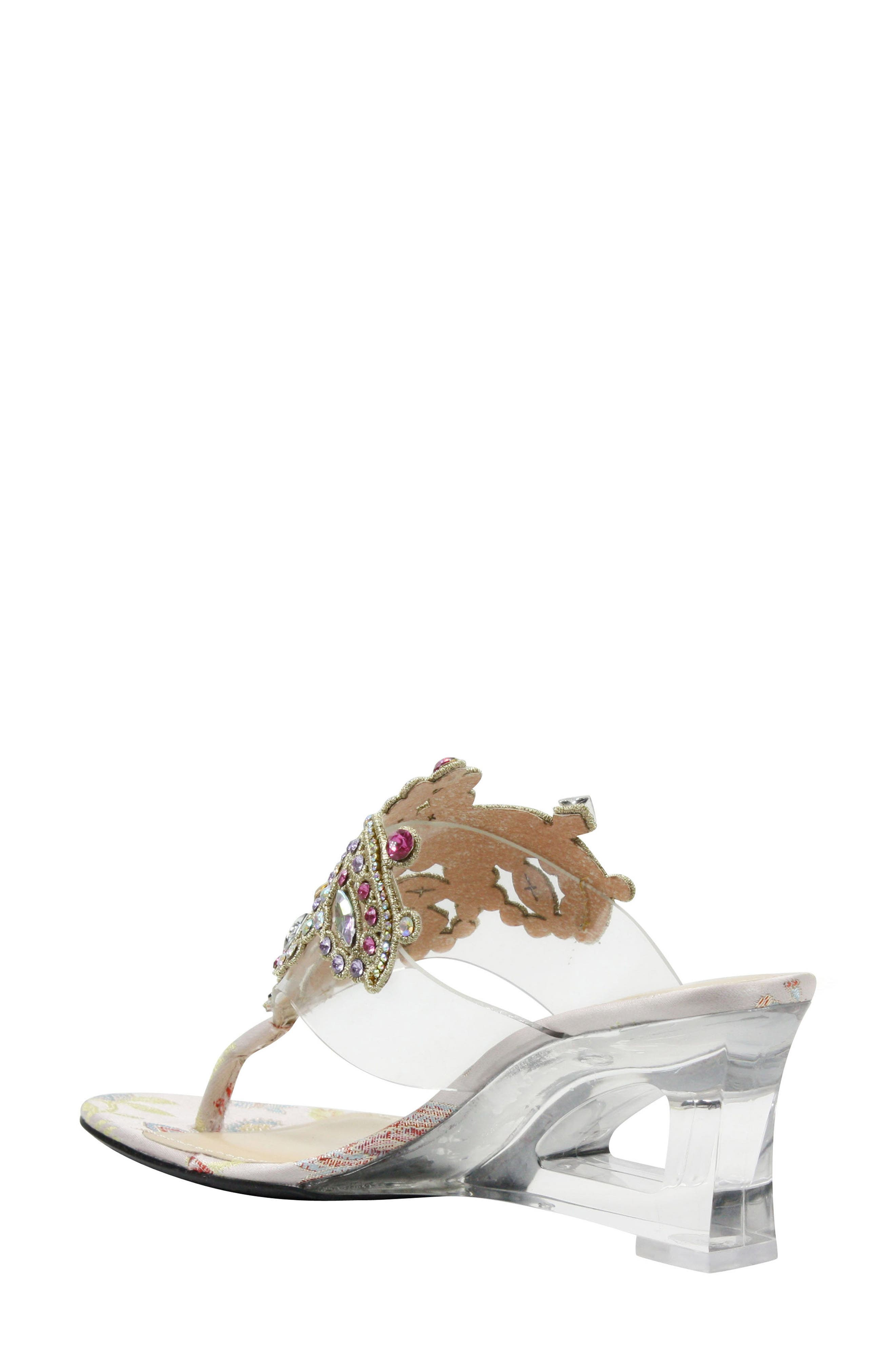 Victorina Embellished Wedge Mule,                             Alternate thumbnail 2, color,                             CLEAR/ PASTEL FABRIC