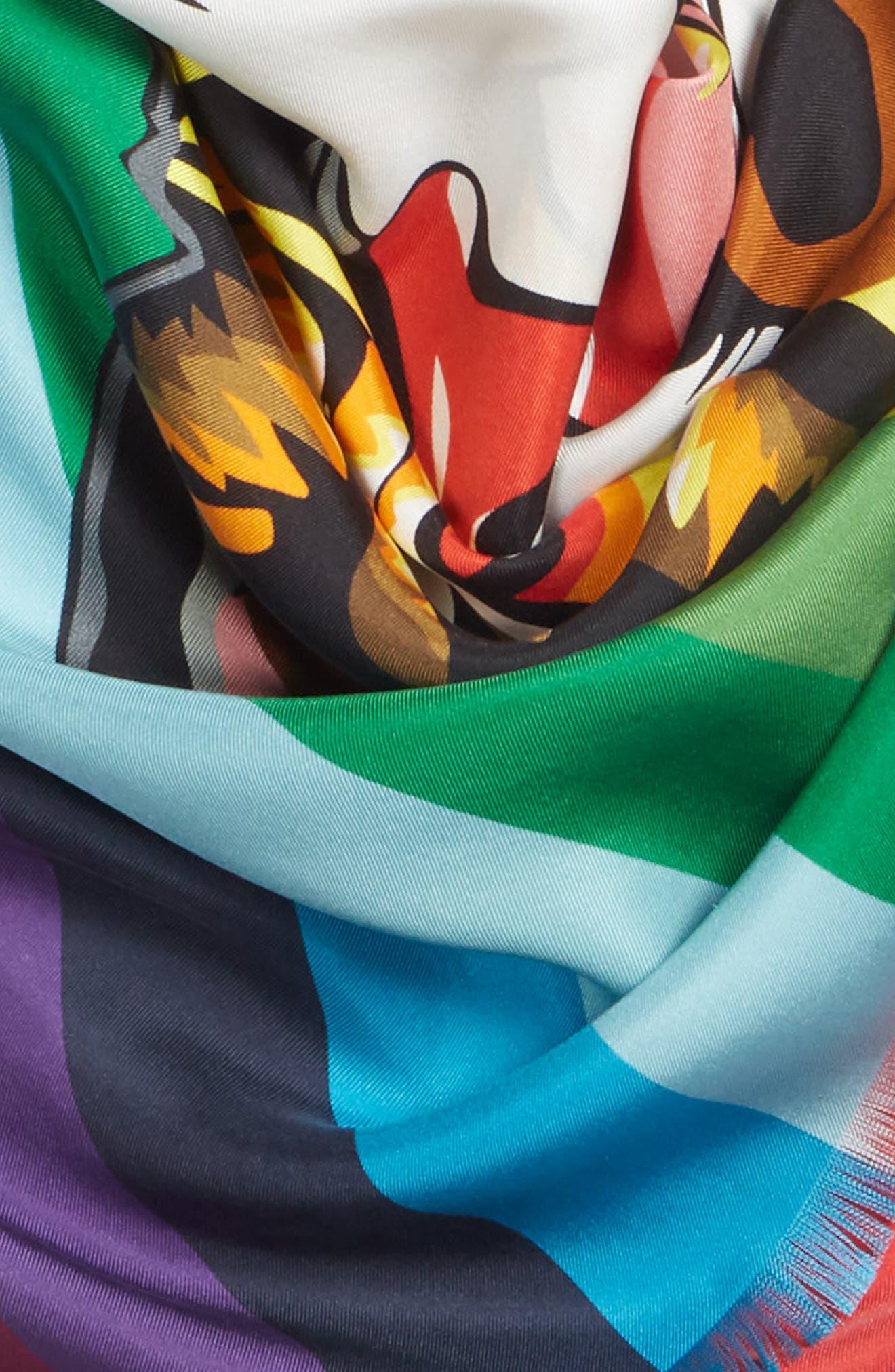 Crazy Tiger Square Silk Scarf,                             Alternate thumbnail 4, color,                             MULTICOLOR
