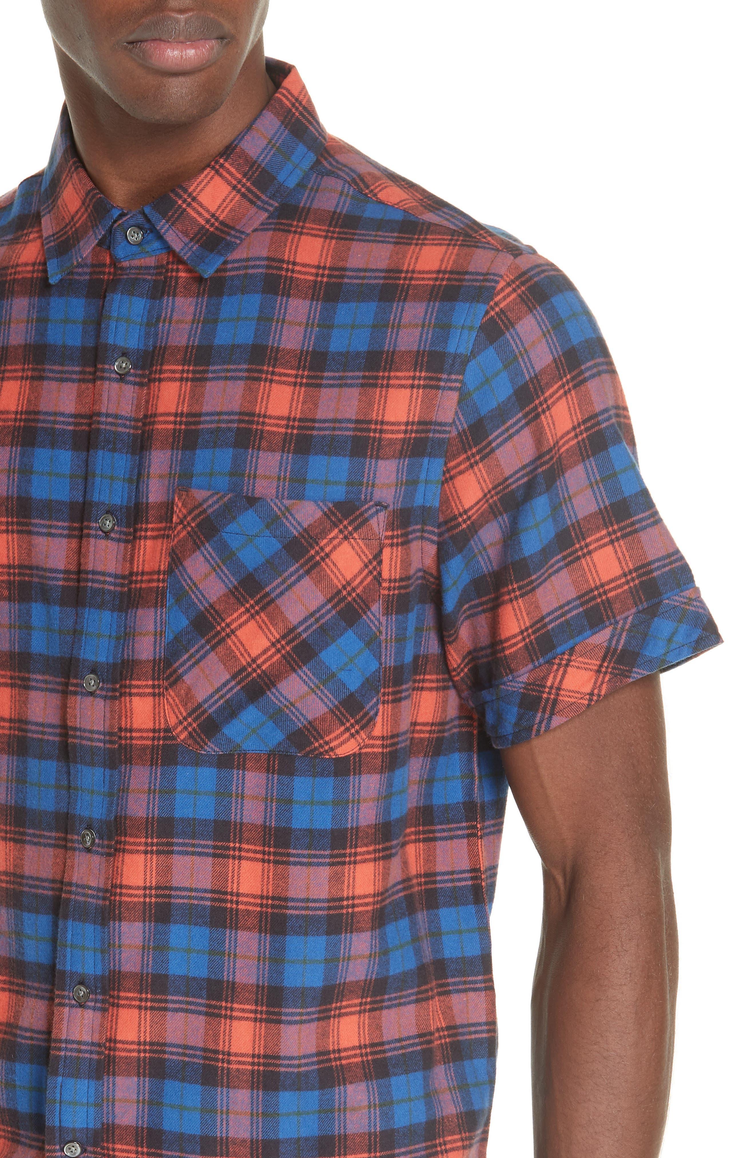Plaid Flannel Camp Shirt,                             Alternate thumbnail 4, color,                             BLUE PLAID