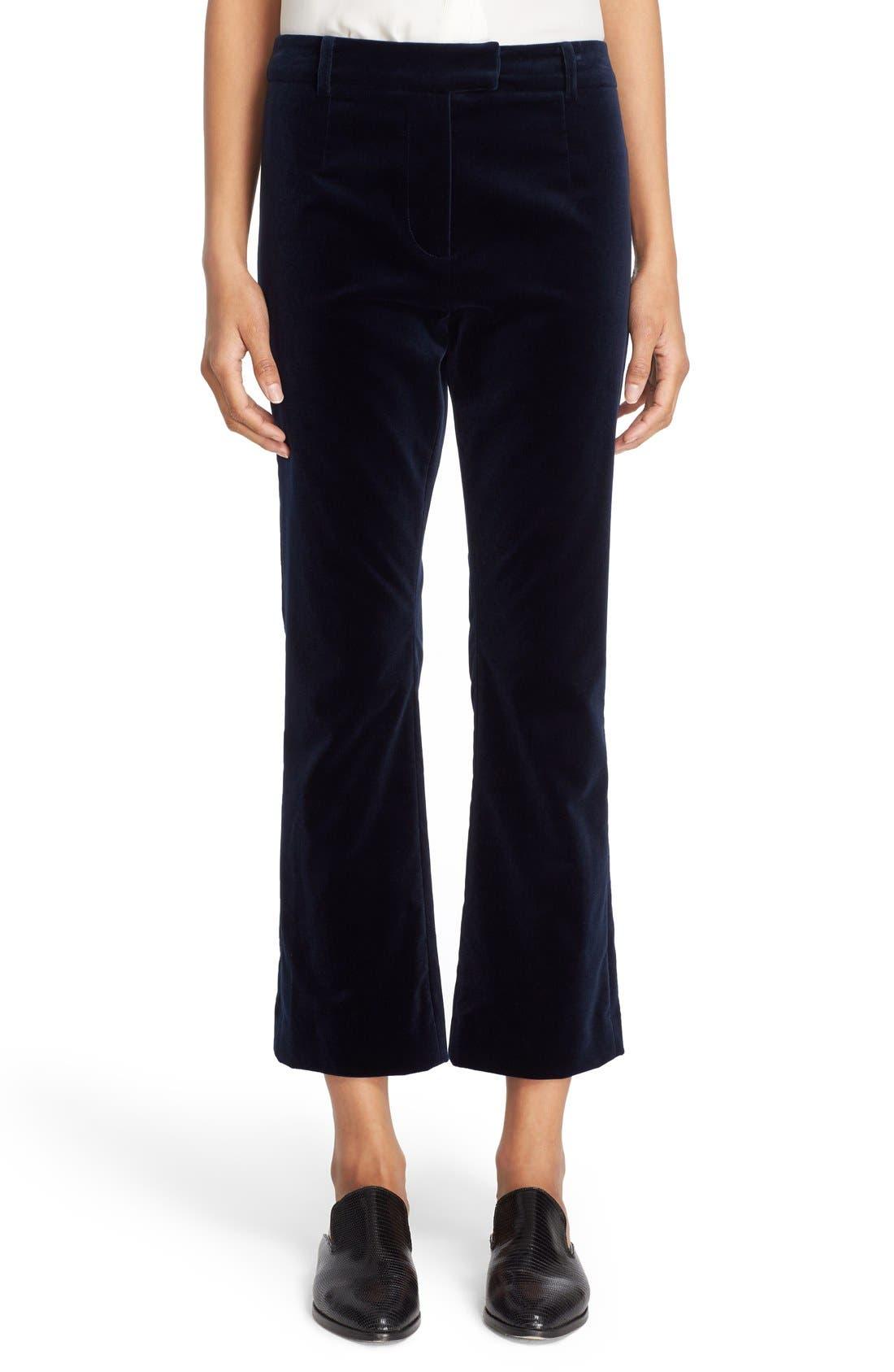 'Le Crop Mini Boot' High Rise Velvet Pants, Main, color, 410