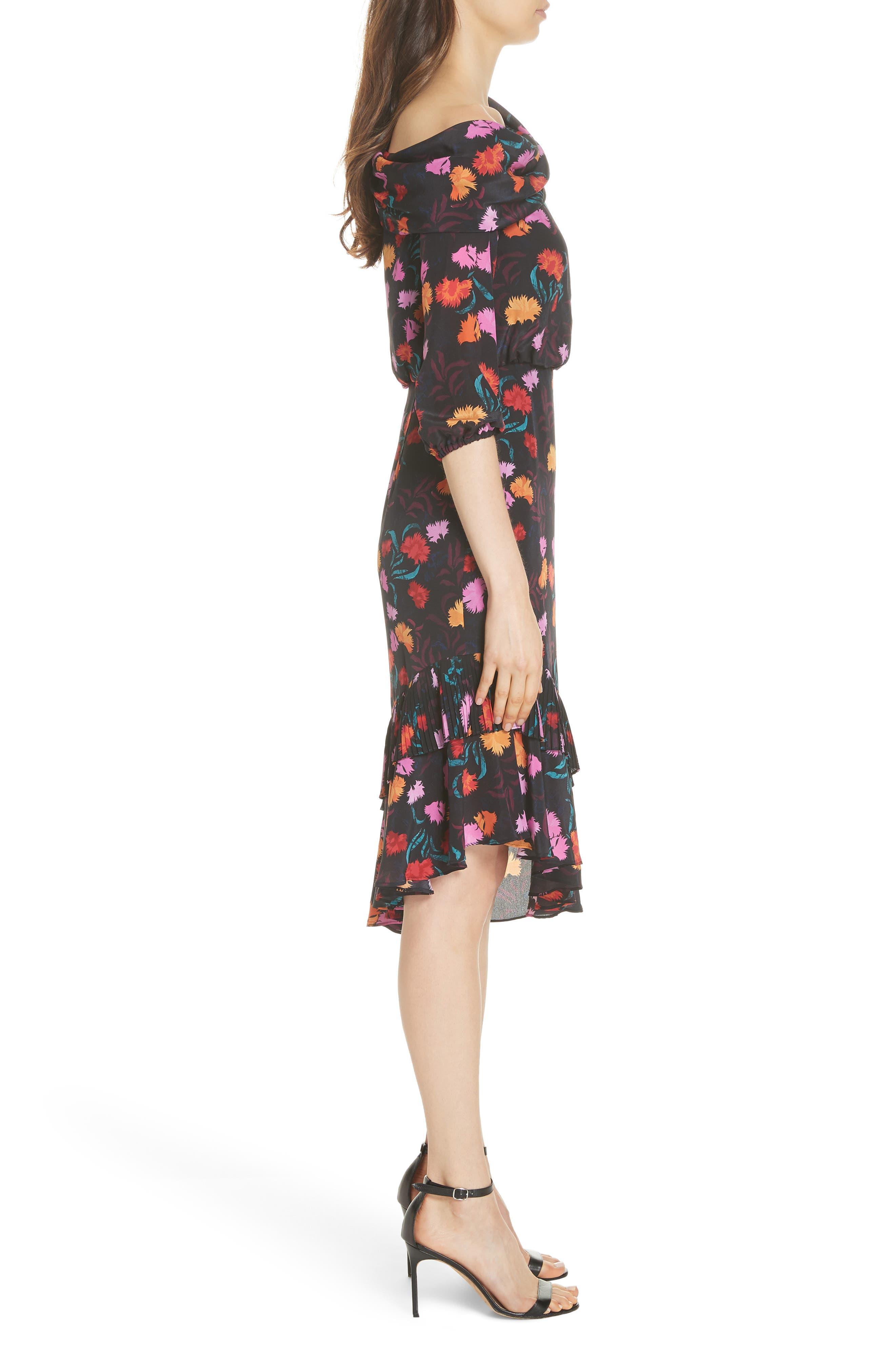 Lexie Floral Print Silk Off the Shoulder Dress,                             Alternate thumbnail 3, color,                             BLACK AZALEA