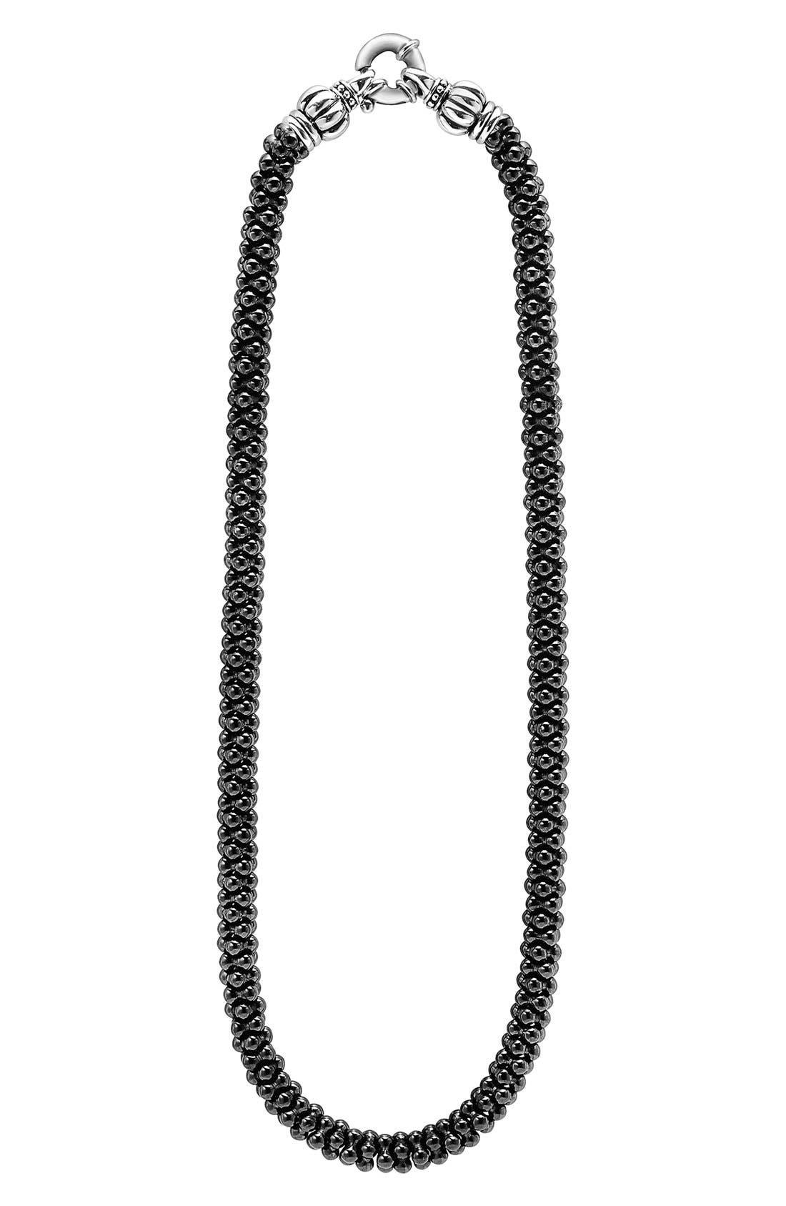'Black Caviar' 7mm Beaded Necklace,                         Main,                         color, BLACK CAVIAR