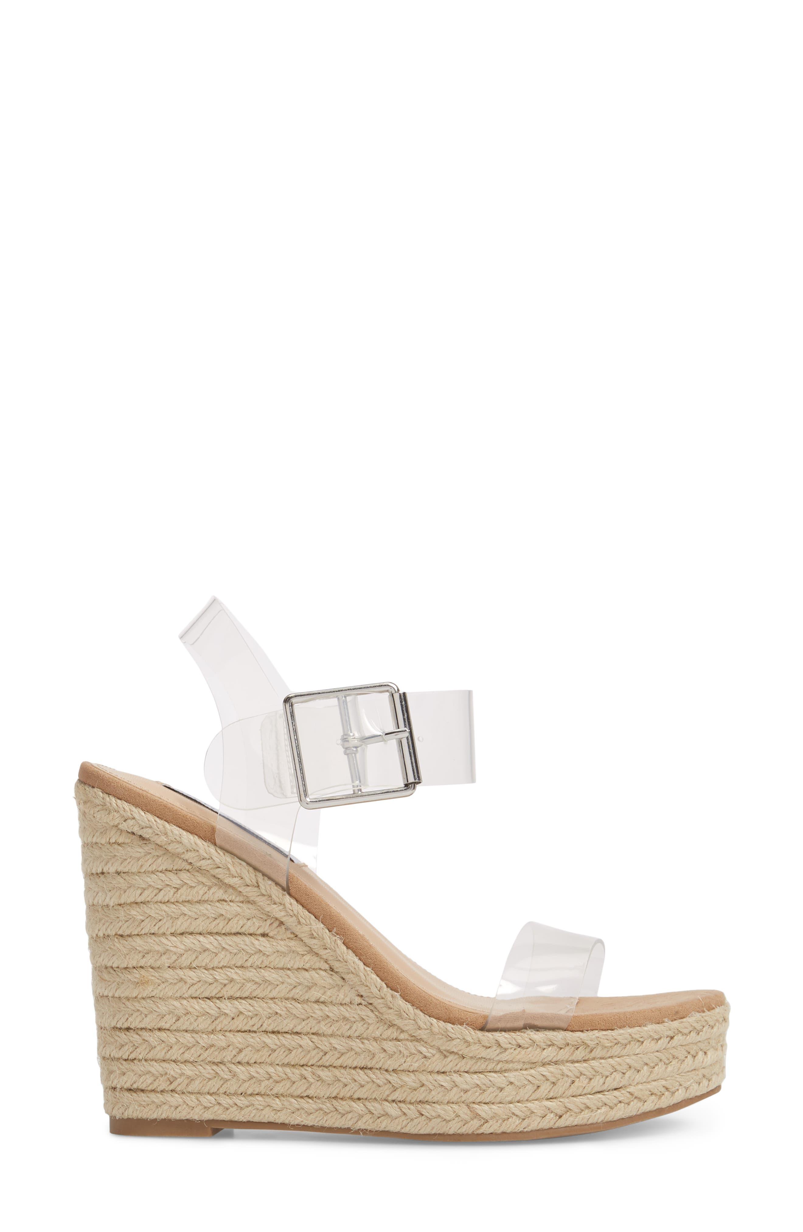 Splash Transparent Strap Wedge Sandal,                             Alternate thumbnail 3, color,                             250