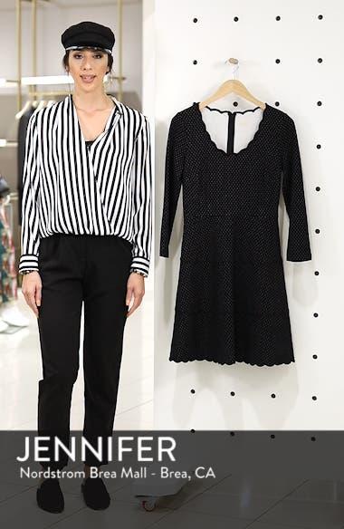 pin dot scallop ponte fit & flare dress, sales video thumbnail
