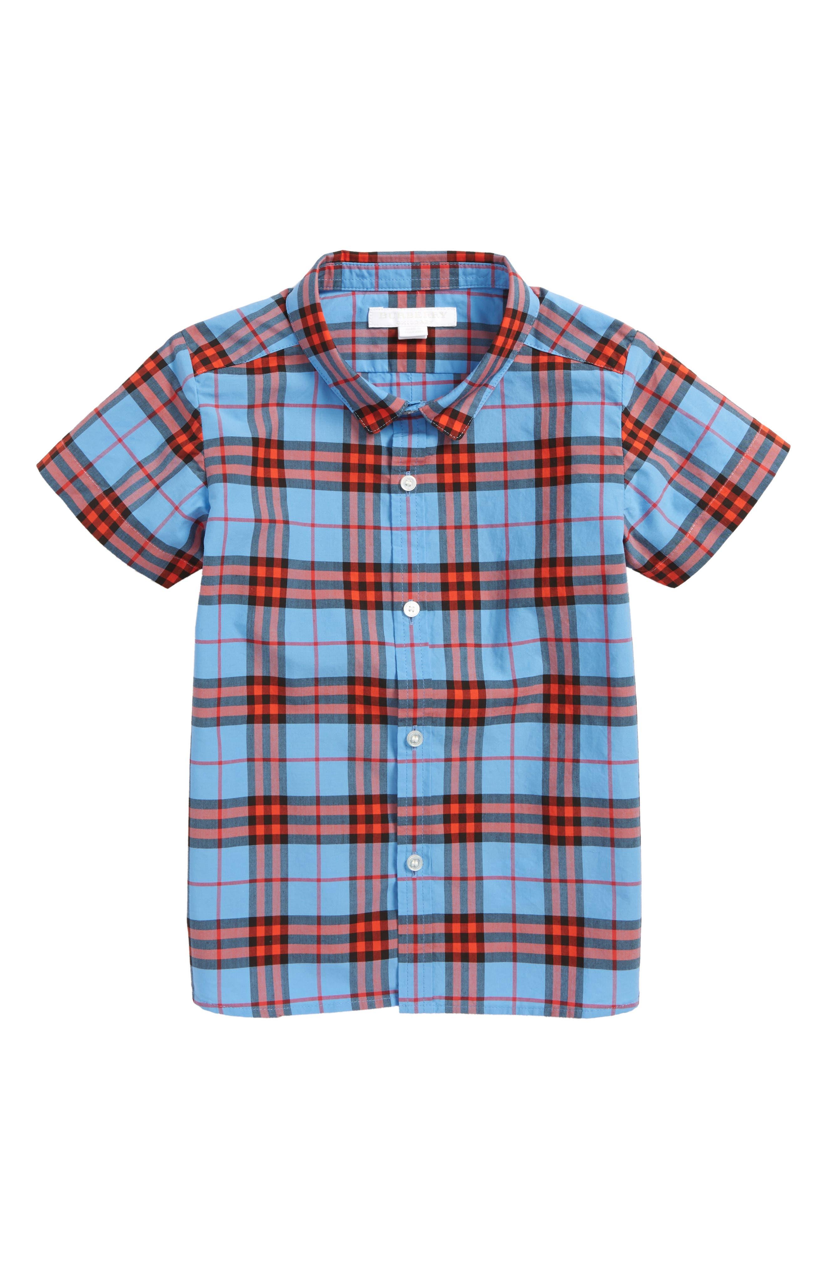 Clarkey Plaid Short Sleeve Shirt,                         Main,                         color, CORNFLOWER BLUE