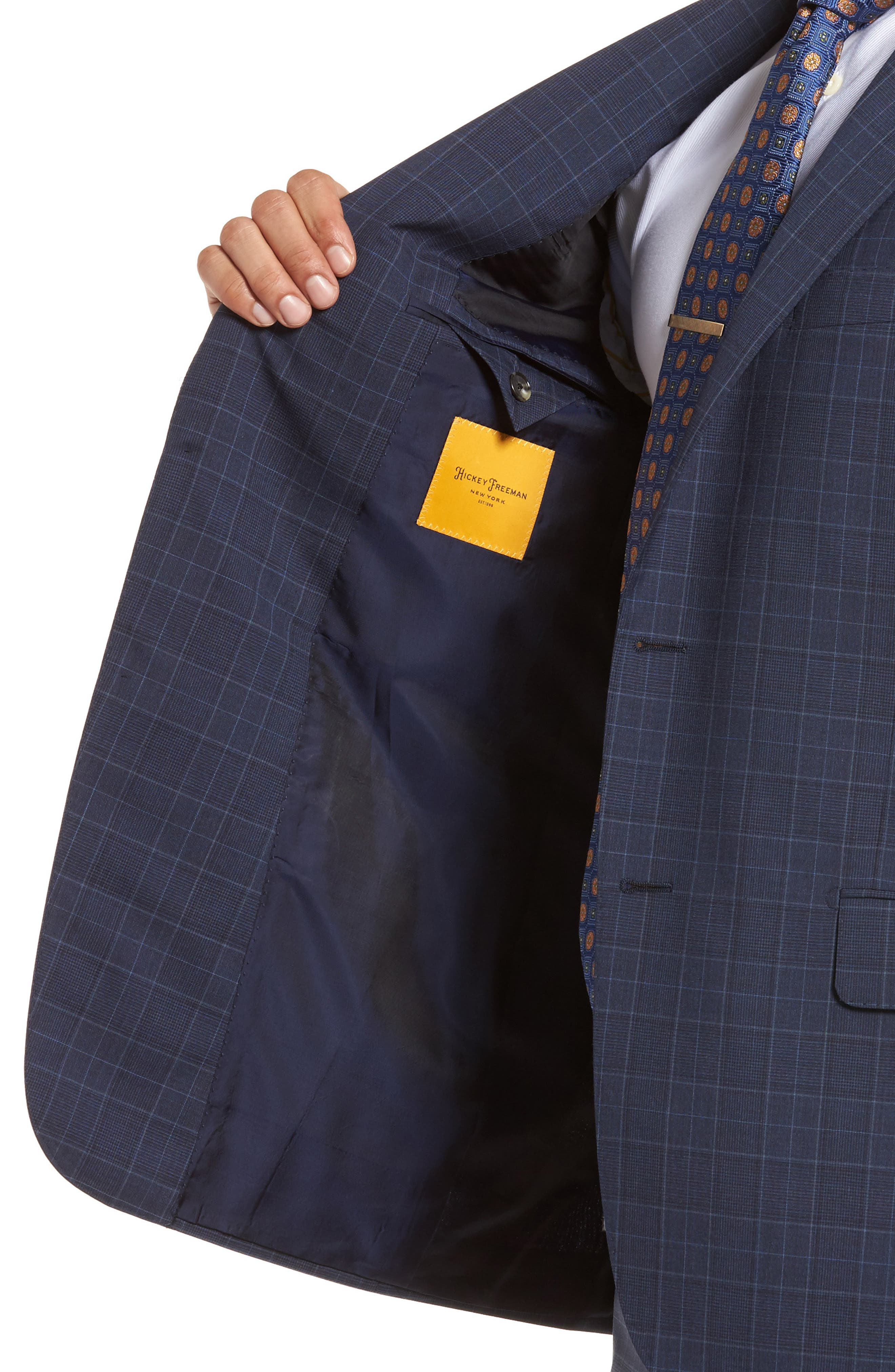 HICKEY FREEMAN,                             Classic B Fit Plaid Wool Suit,                             Alternate thumbnail 4, color,                             400
