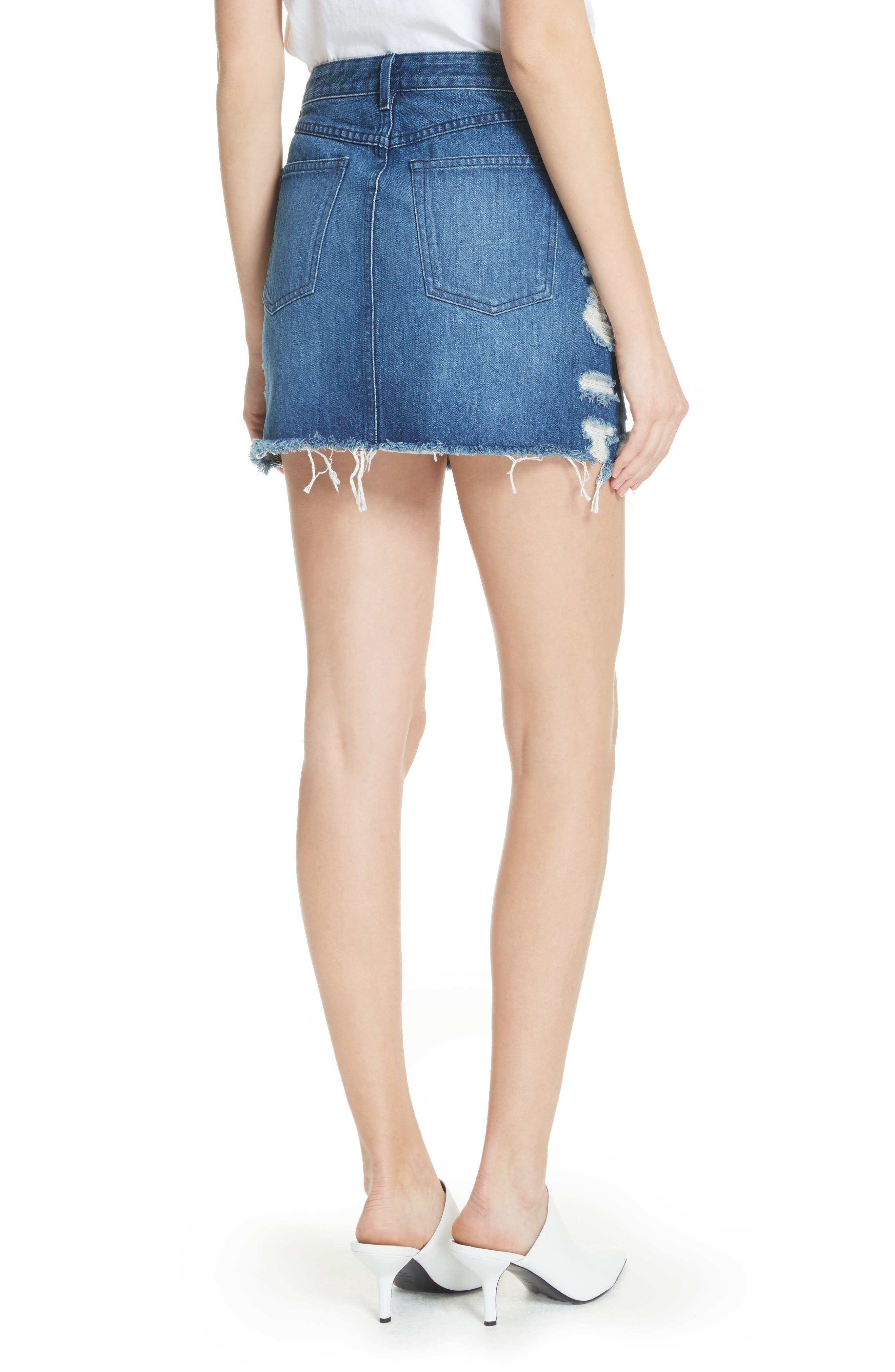 Celine Distressed Denim Skirt,                             Alternate thumbnail 2, color,                             LELA