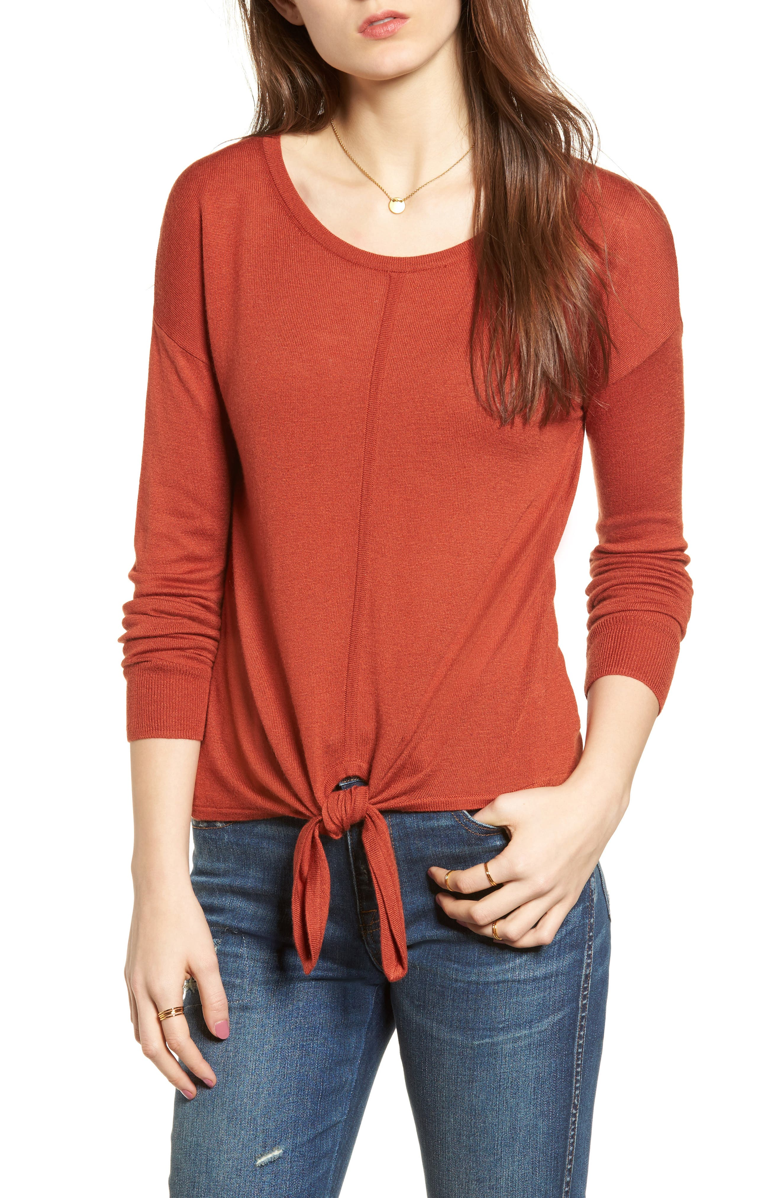 Modern Tie Front Sweater,                             Main thumbnail 4, color,