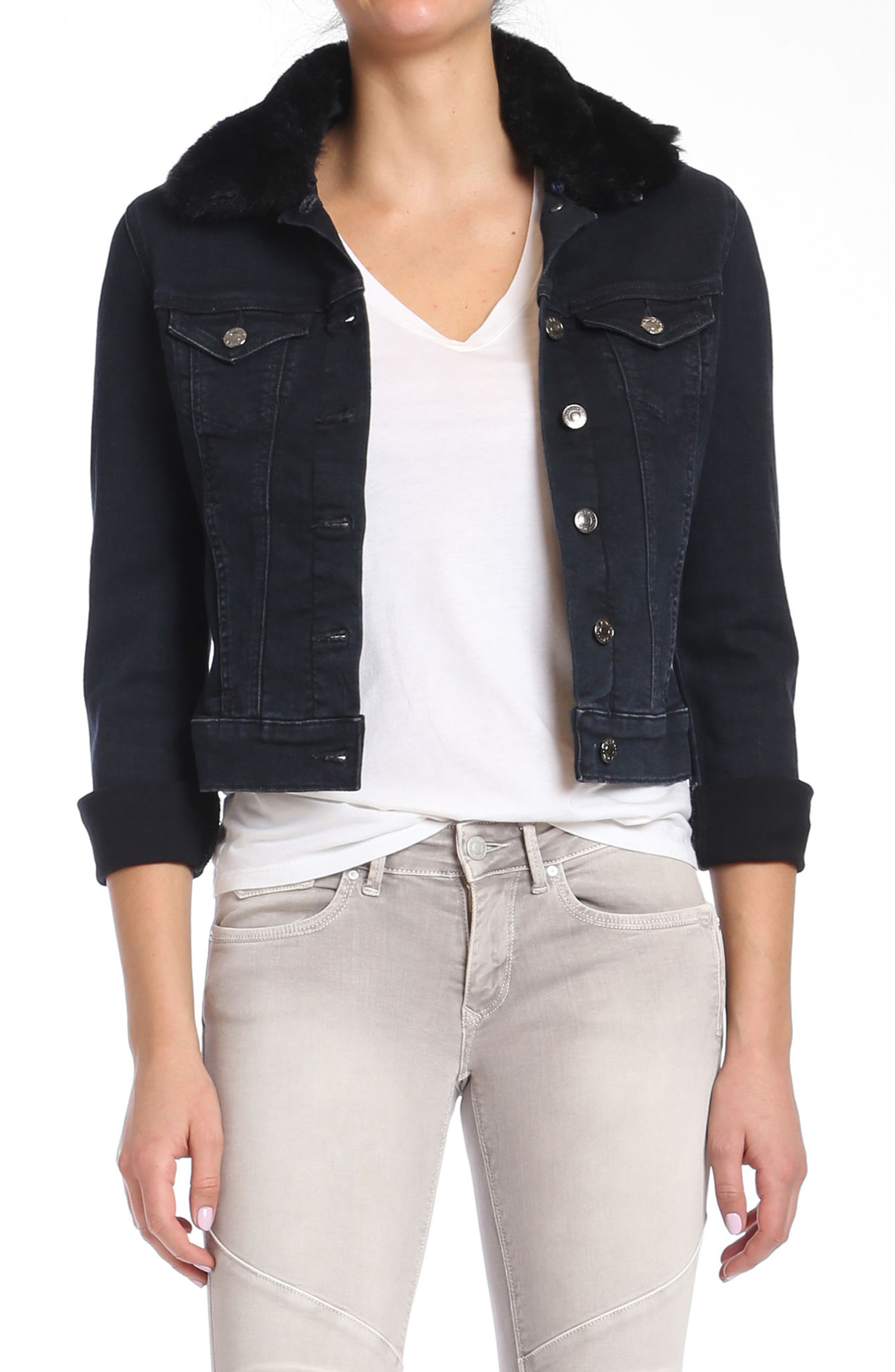Samantha Faux Fur Collar Denim Jacket,                         Main,                         color, 011