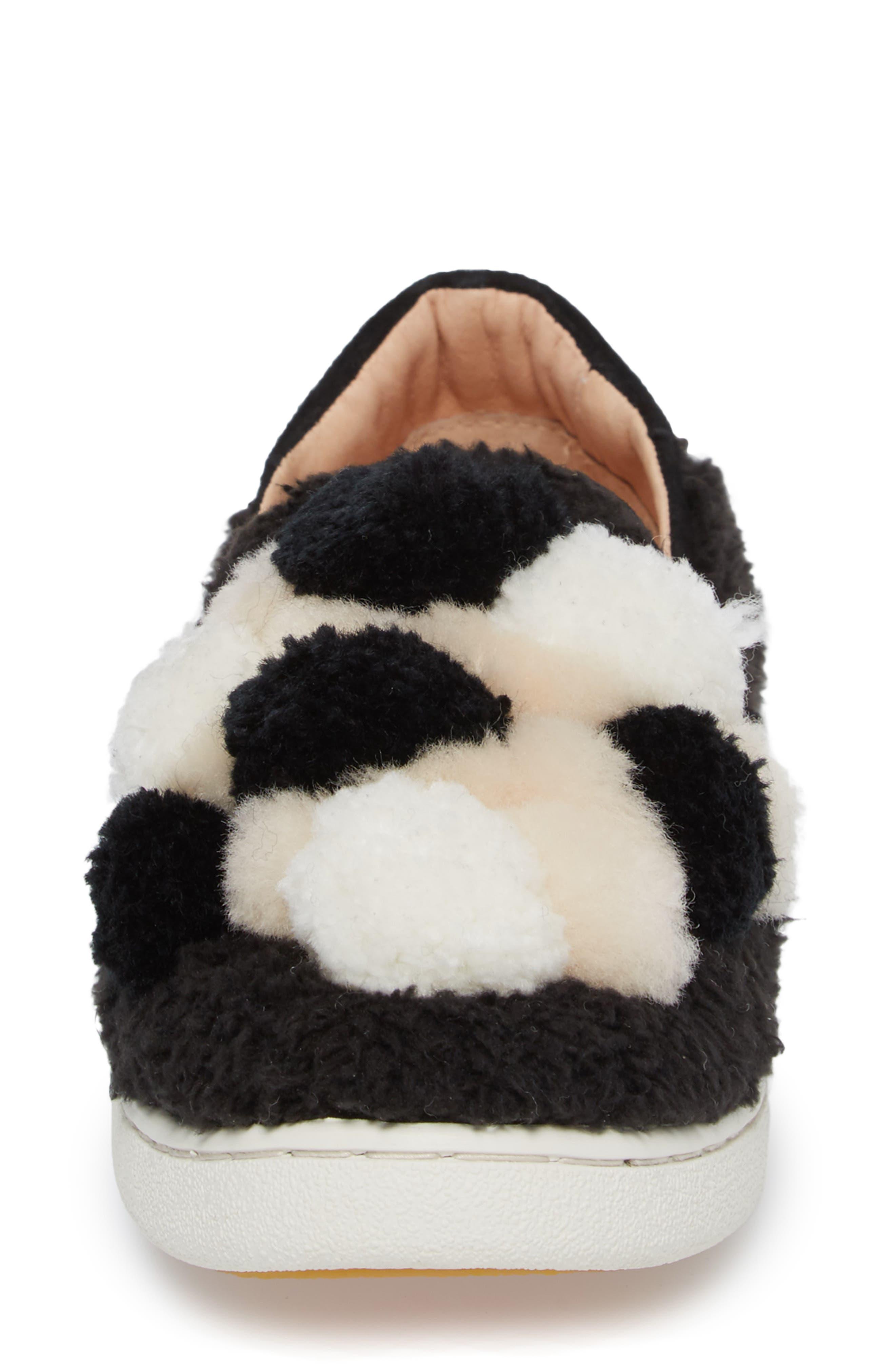 Ricci Plush Genuine Shearling Pompom Slip-On Sneaker,                             Alternate thumbnail 4, color,                             001