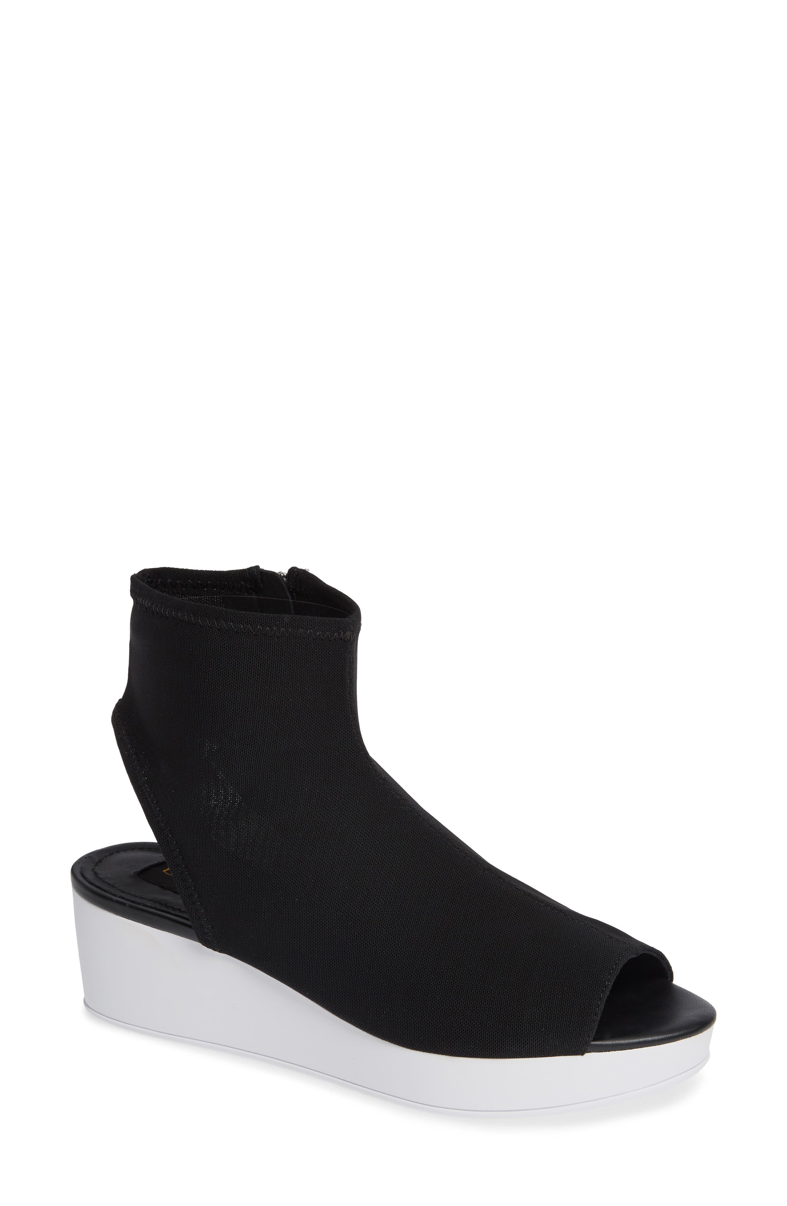 Donna Karan Rivera Mid-Wedge Sandal,                             Main thumbnail 1, color,                             BLACK STRETCH FLY KNIT