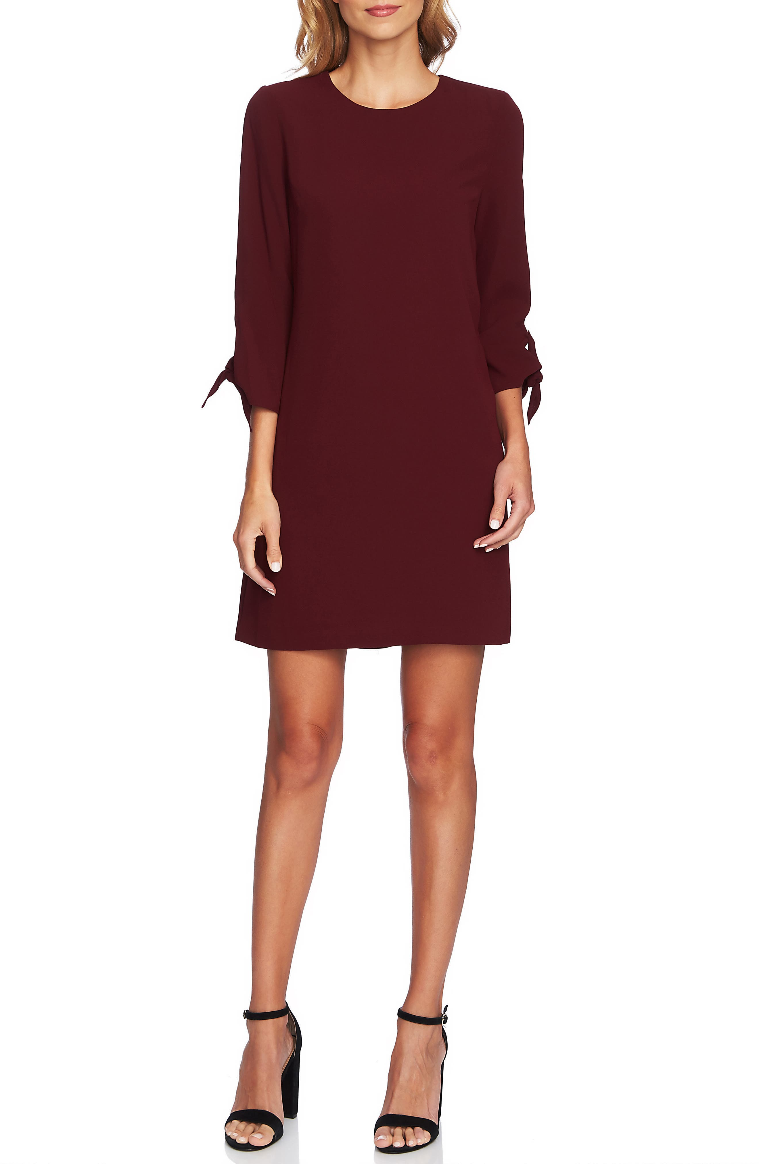 Cece Tie Sleeve Shift Dress, Burgundy