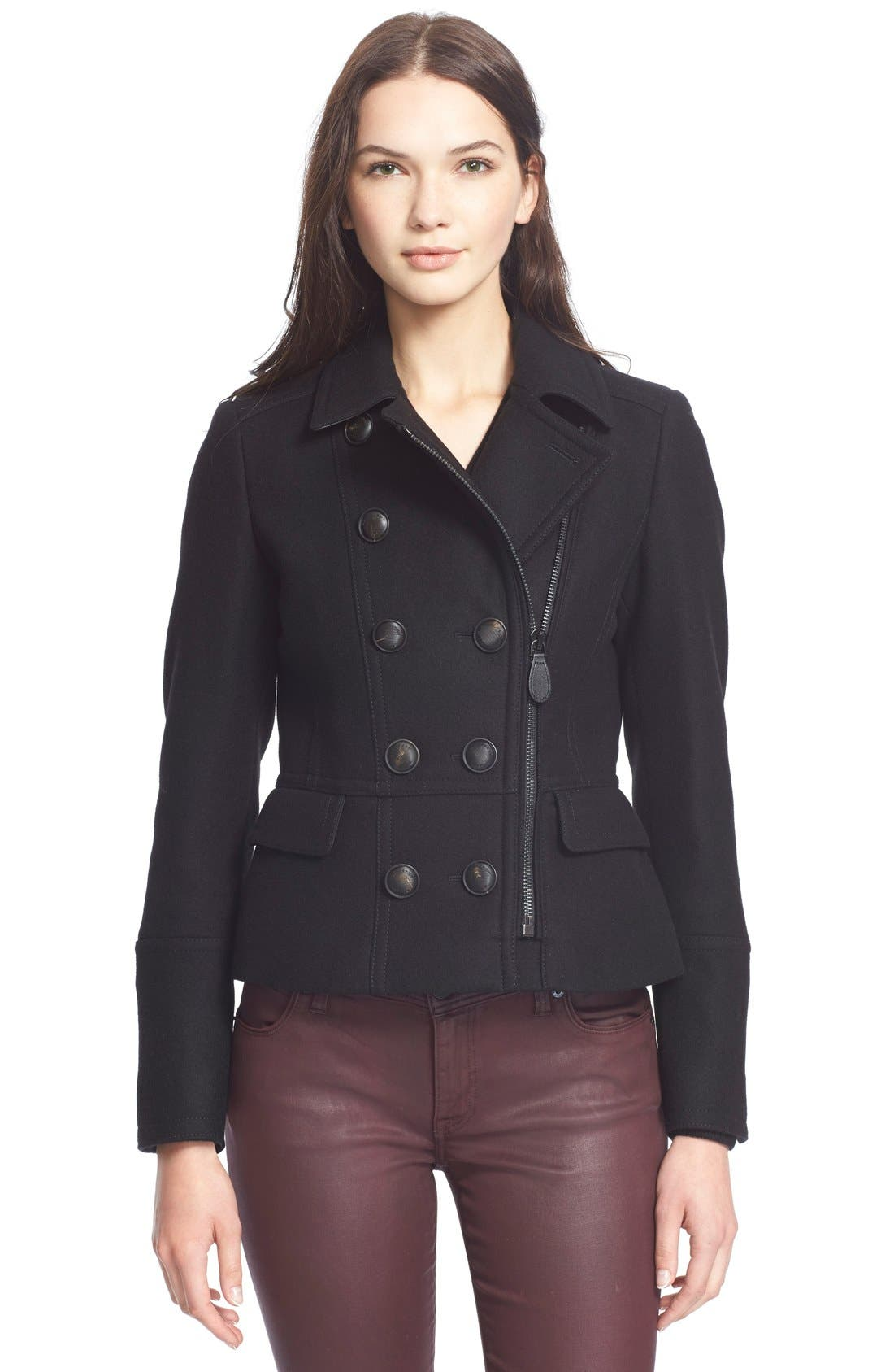 BURBERRY BRIT,                             BuberryBrit 'Milbury' Wool Blend Jacket,                             Main thumbnail 1, color,                             001