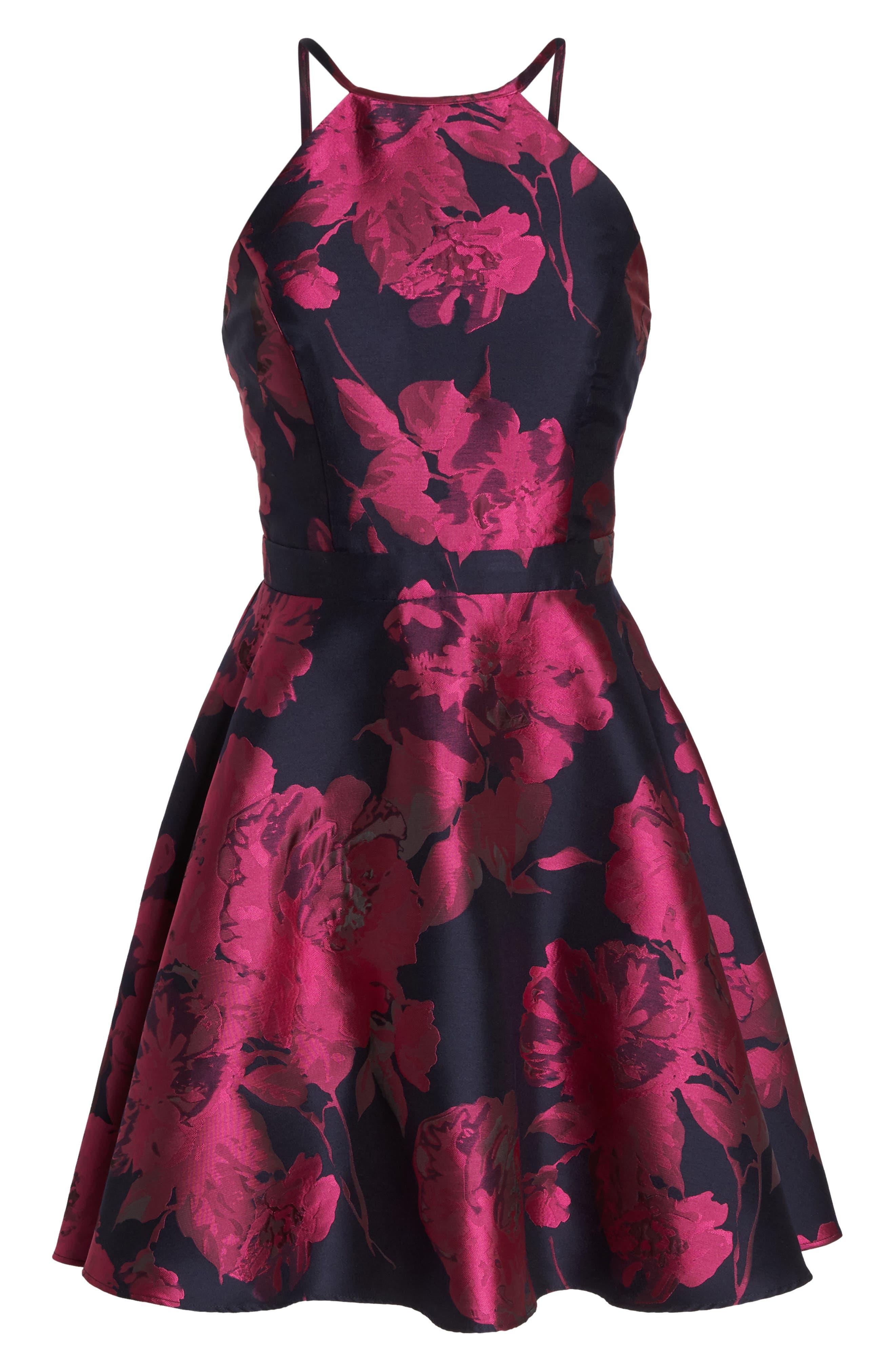 Floral Brocade Fit & Flare Dress,                             Alternate thumbnail 7, color,                             475