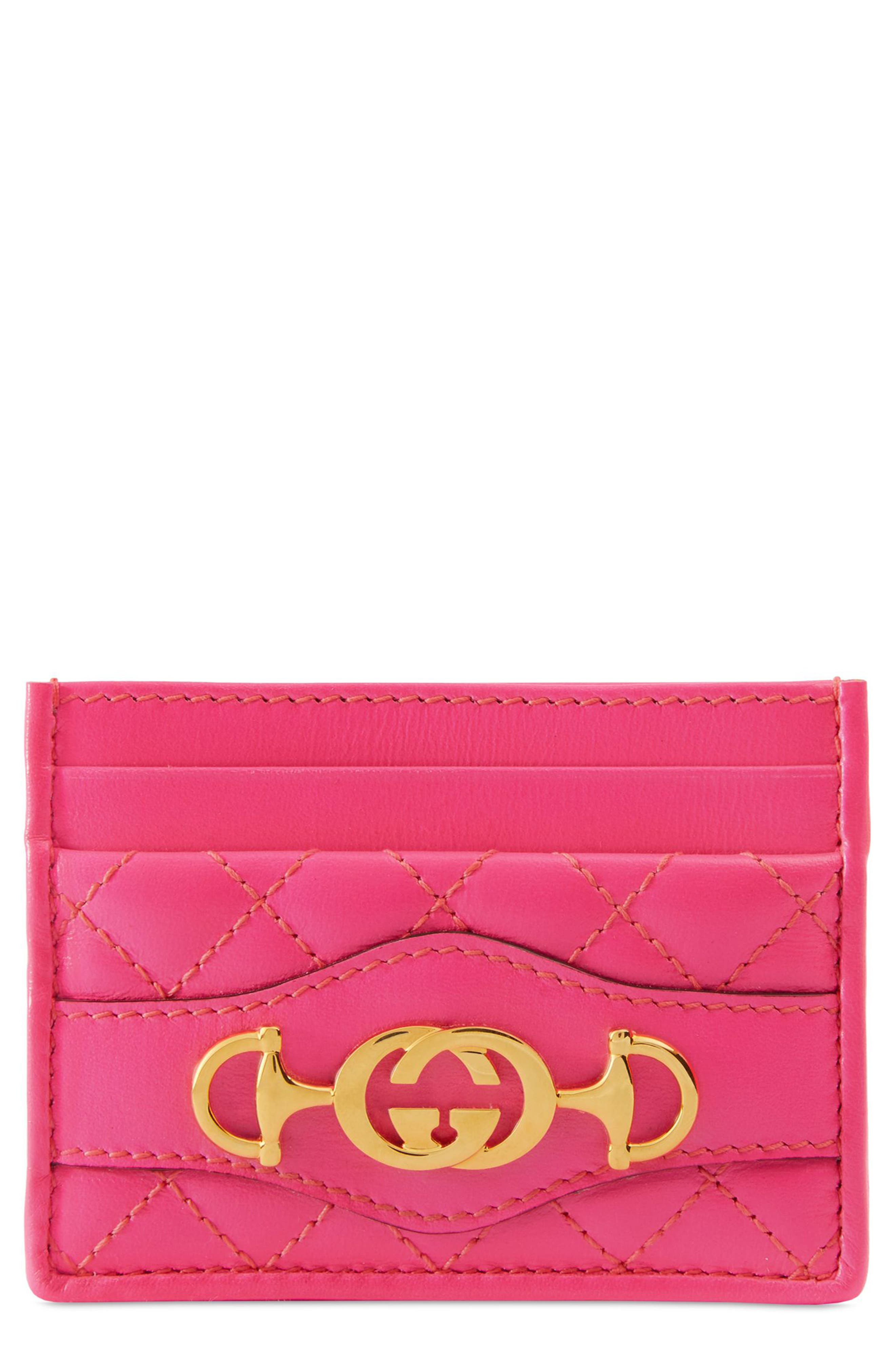 Quilted Leather Card Case,                         Main,                         color, 670