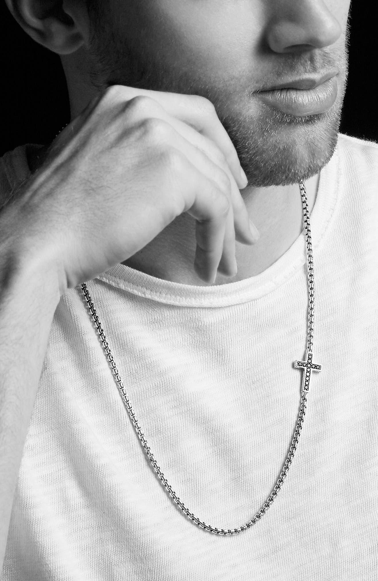 Pavé Cross Necklace with Diamonds,                             Alternate thumbnail 2, color,                             BLACK DIAMOND