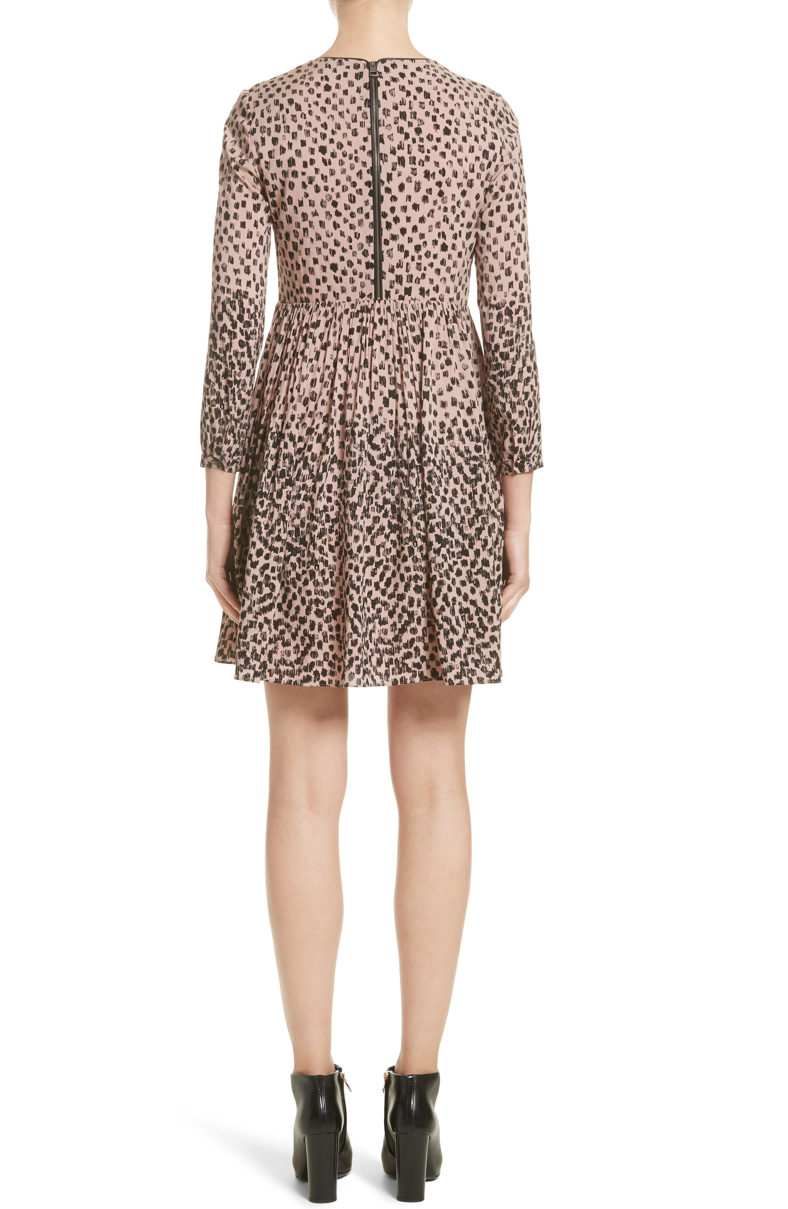 Karinkalt Leather Trim Print Dress,                             Alternate thumbnail 2, color,                             683