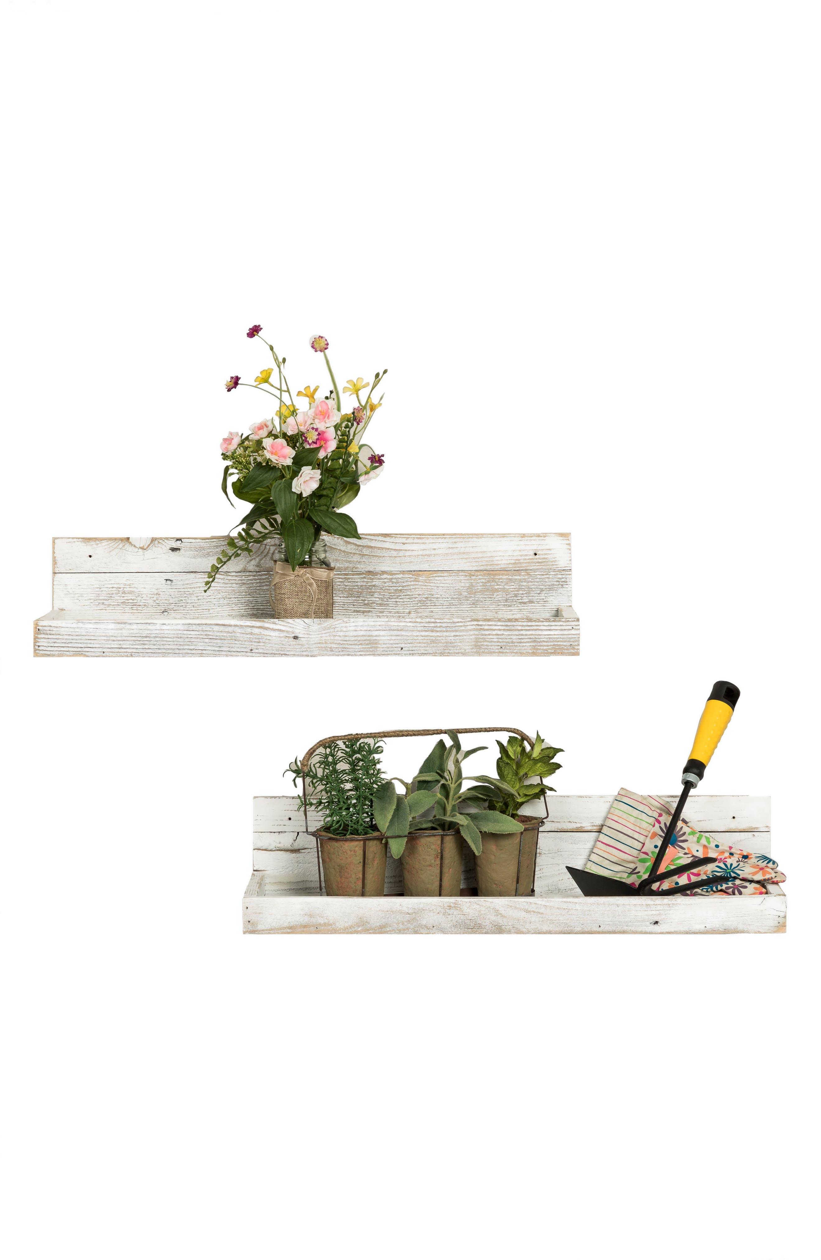Set of 2 Reclaimed Wood Floating Shelves,                             Alternate thumbnail 4, color,