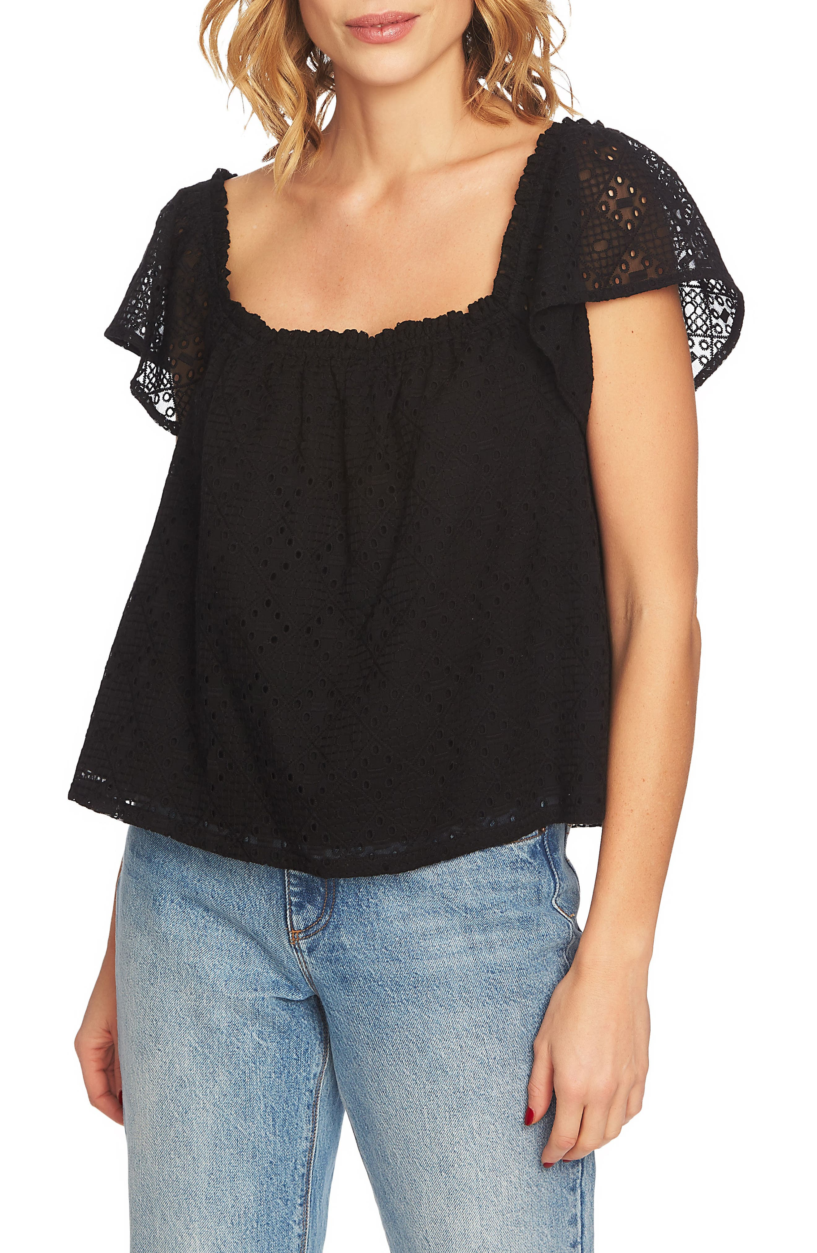 Embroidered Blouse,                         Main,                         color, RICH BLACK