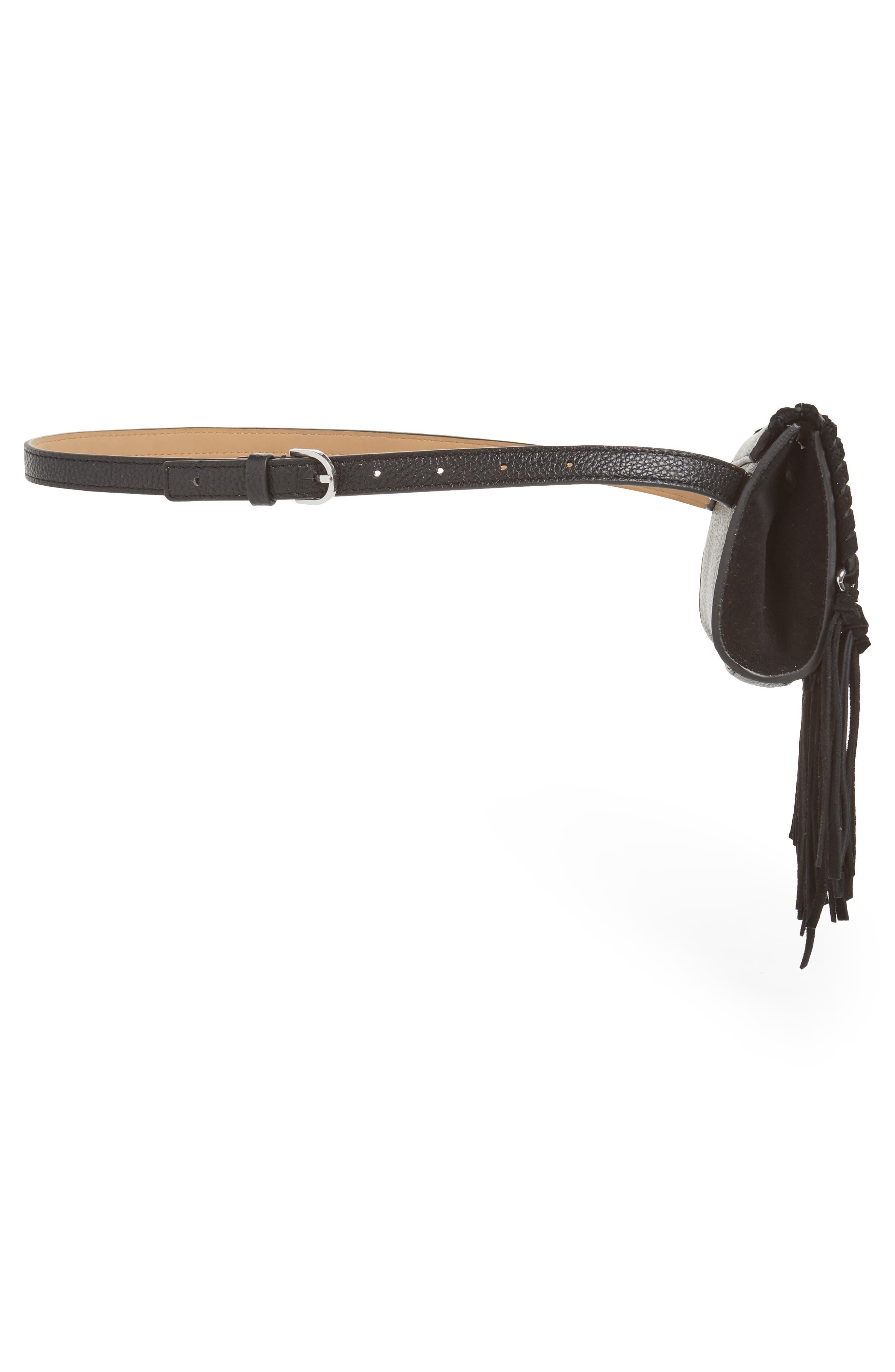 Fringe Leather Belt Bag,                             Alternate thumbnail 6, color,                             BLACK / POL SILVER