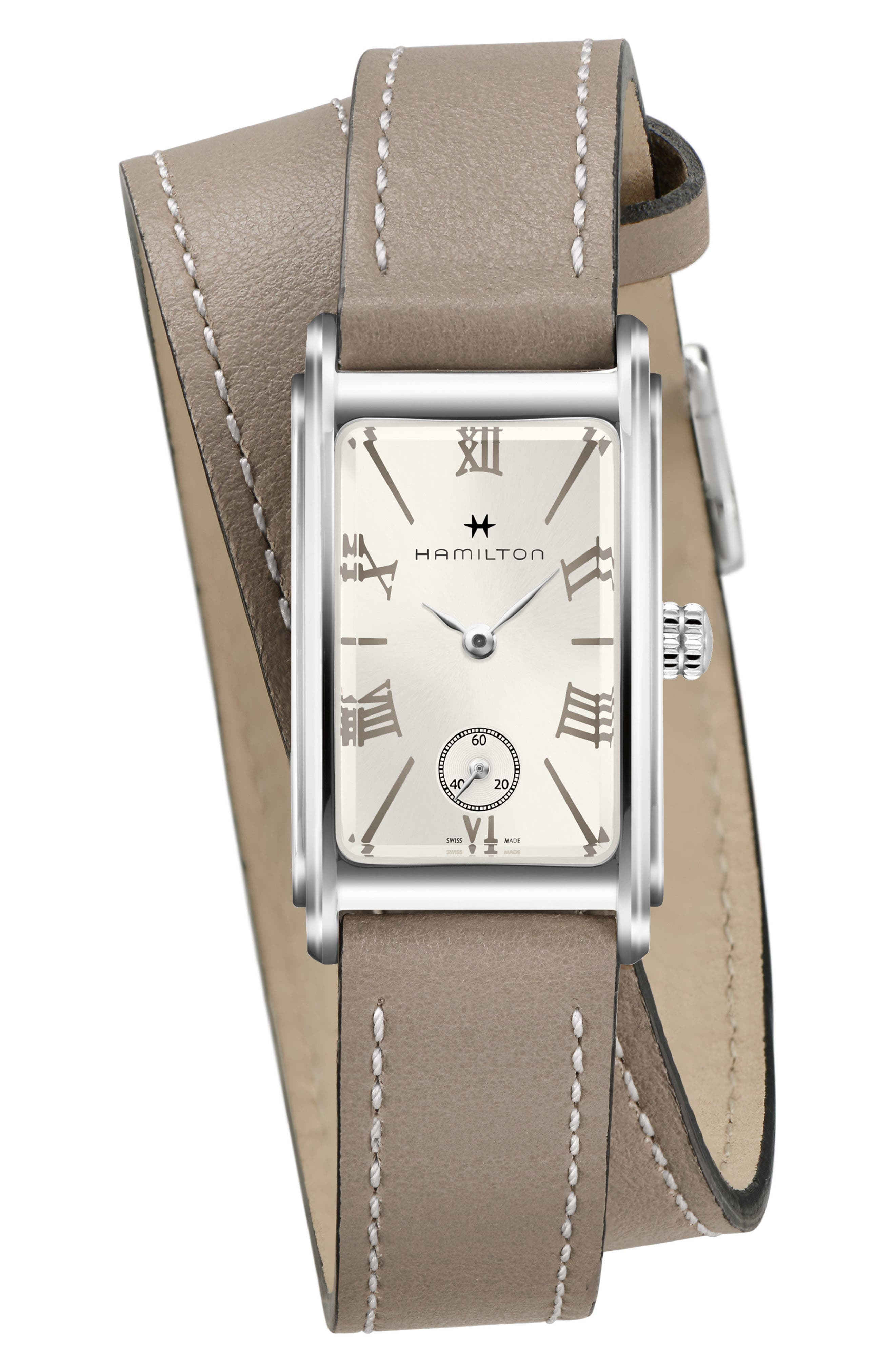 Ardmore Wrap Leather Strap Watch, 18mm x 27mm,                         Main,                         color, BEIGE/ SILVER
