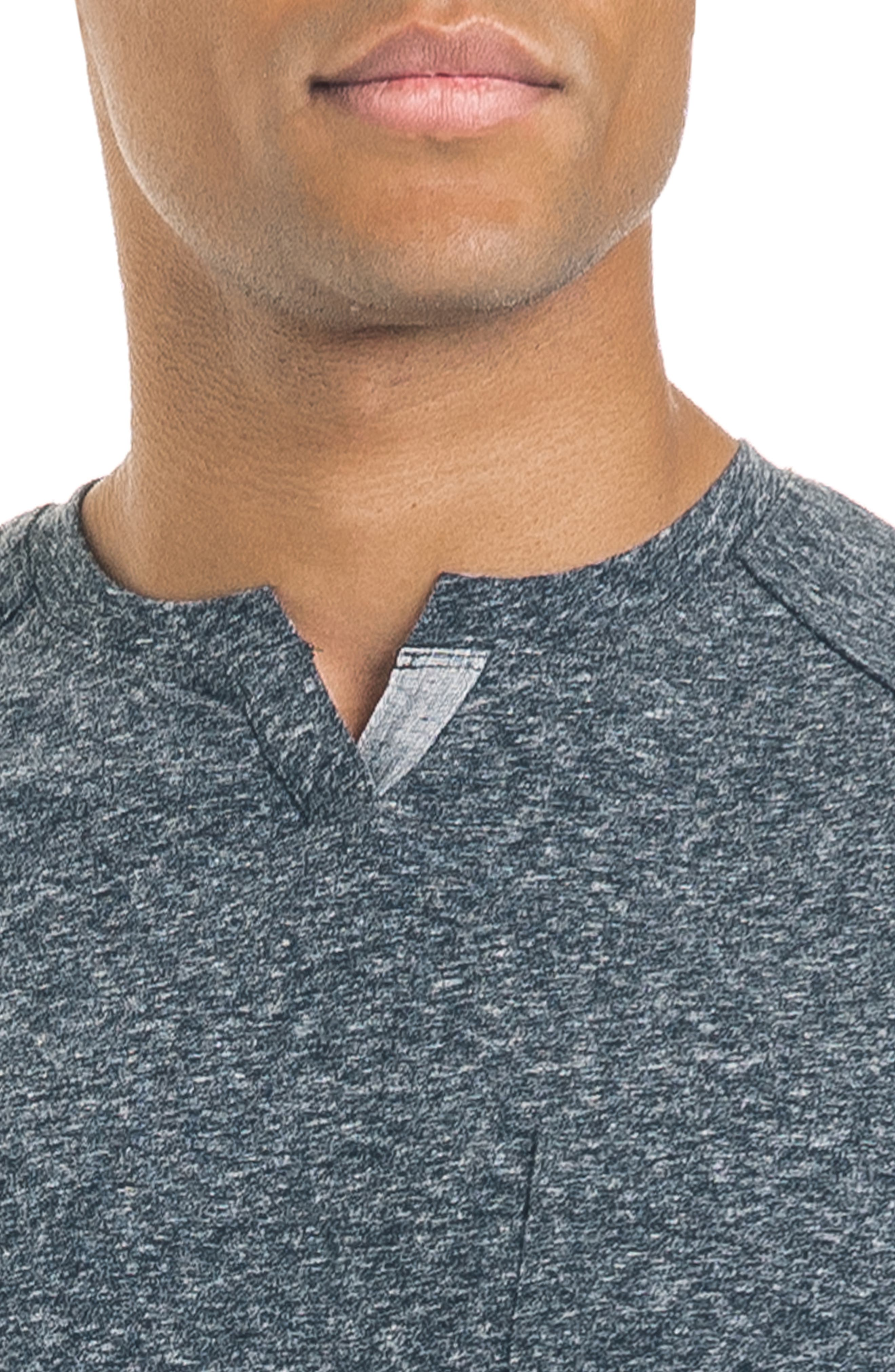 Slim Fit Notched Long Sleeve T-Shirt,                             Alternate thumbnail 4, color,                             CHARCOAL HEATHER