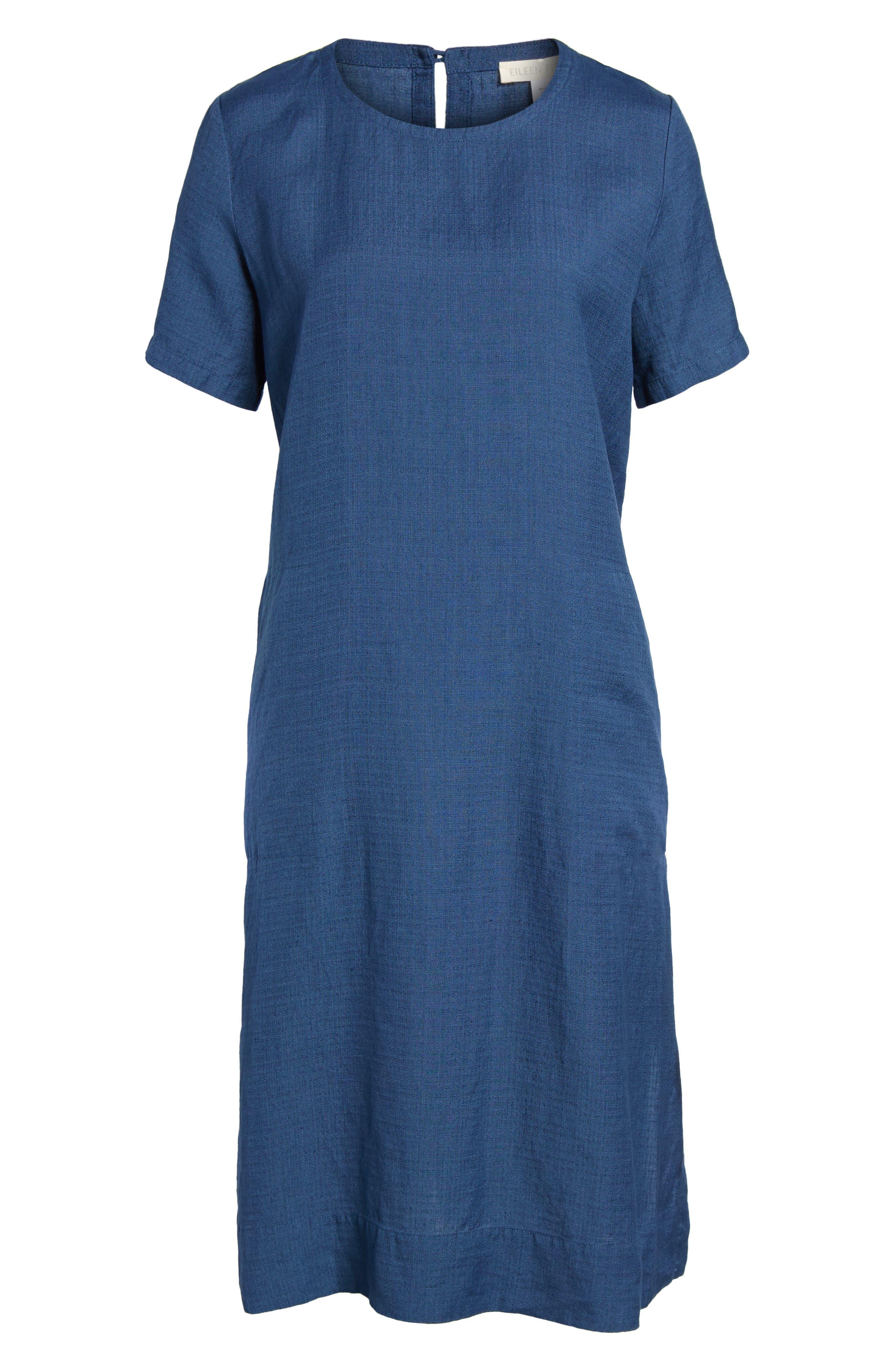 Linen Blend Shift Dress,                             Alternate thumbnail 6, color,                             480
